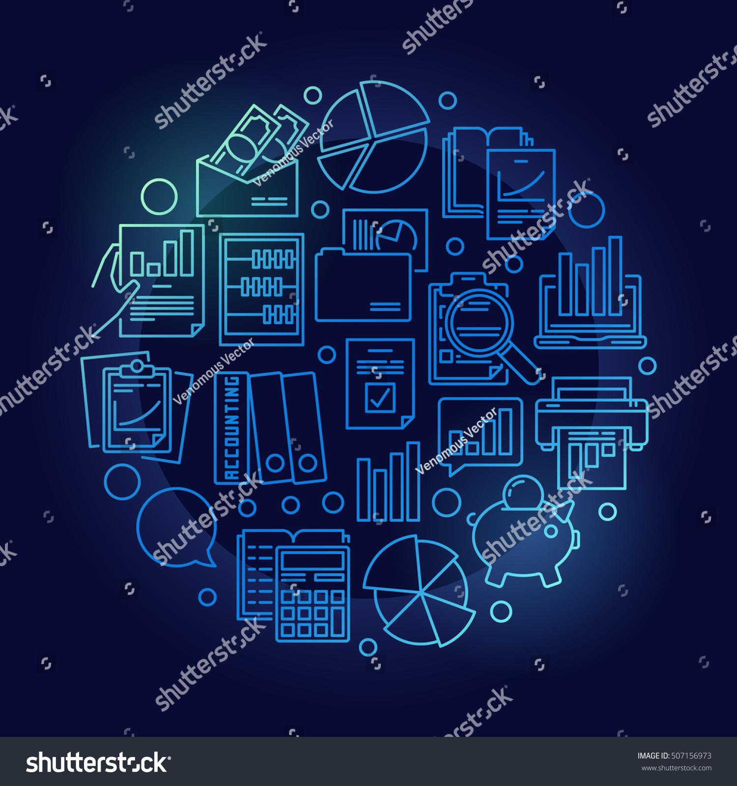 Accounting: Blue Accounting Research Illustration Vector Circular