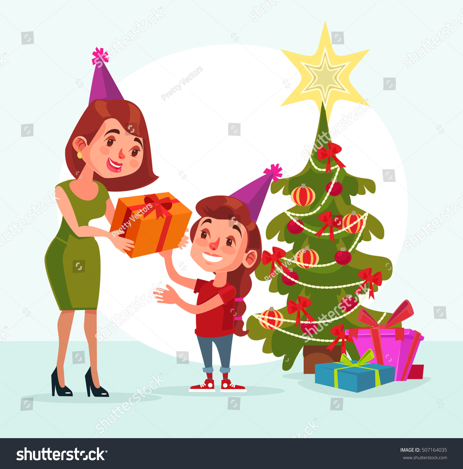 mom gives gift box daughter happy new year merry christmas - Merry Christmas Daughter