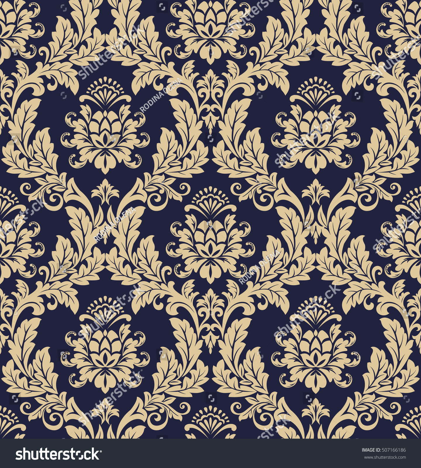 Floral Pattern Wallpaper Baroque Damask Seamless Stock Image