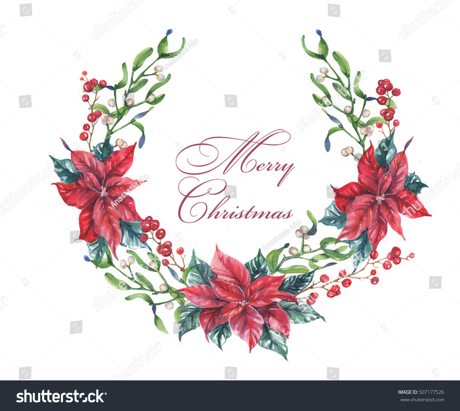 Happy New Year Merry Christmas Greeting Stock Illustration 507177526