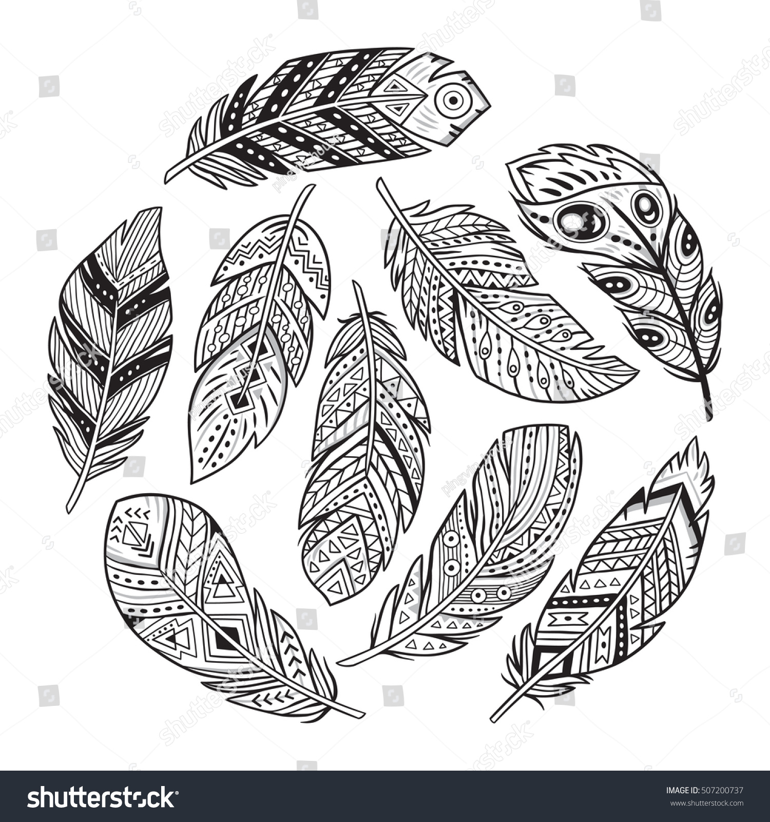 vector outline set tribal indian aztec stock vector 507200737