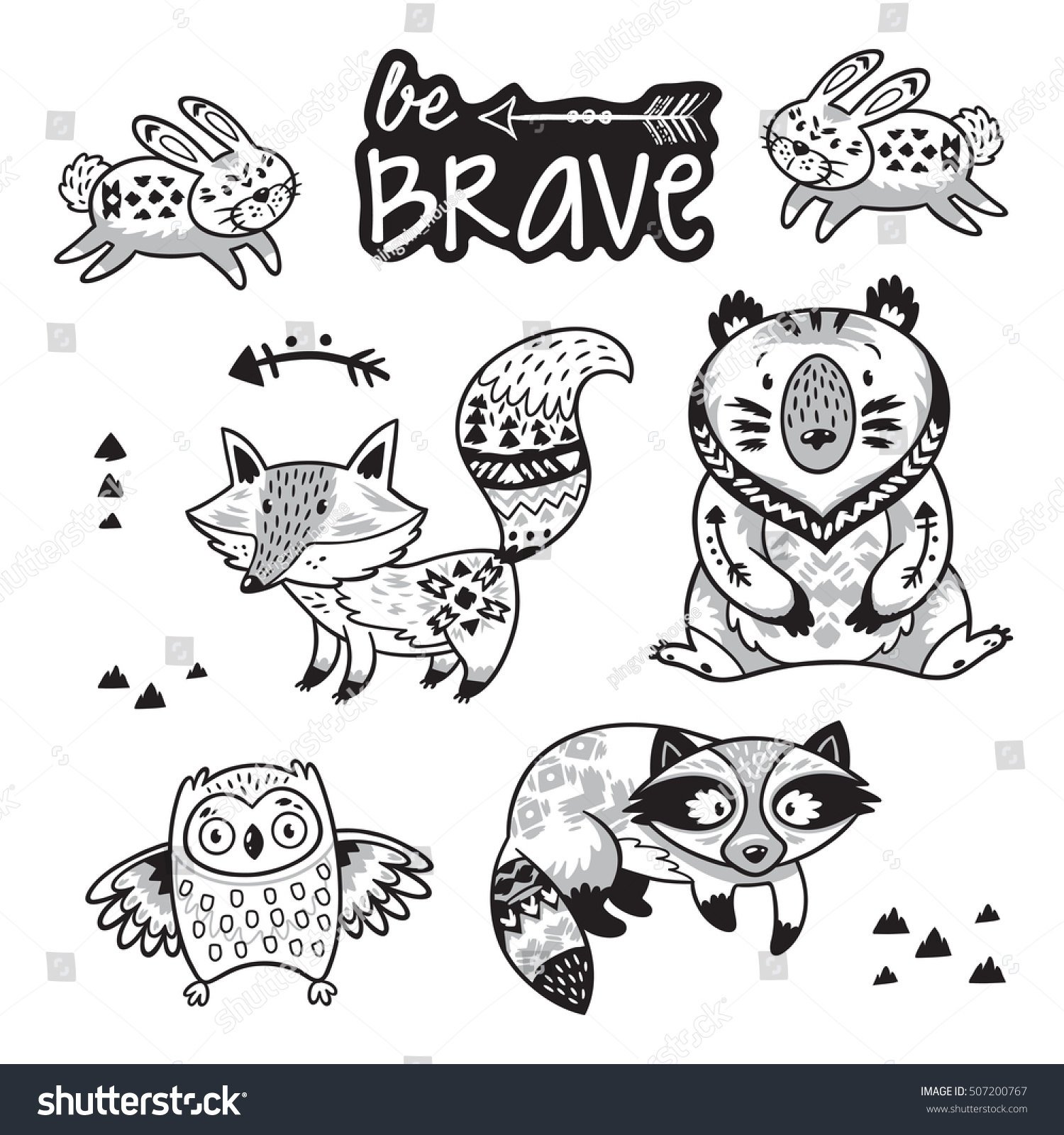 woodland animals coloring pages - set cute woodland animals isolated on stock vector