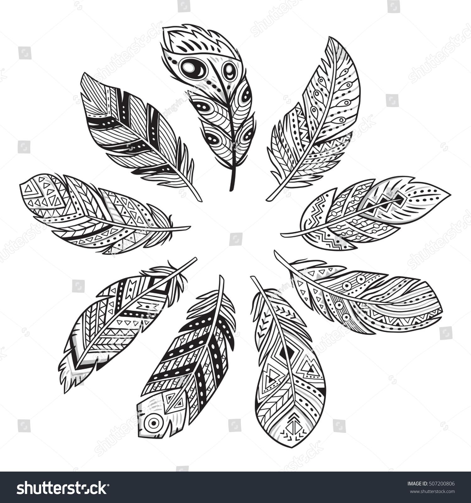 Vector Outline Set Tribal Indian Aztec Stock Vector