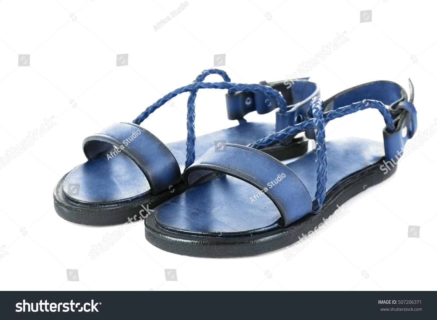 259c0aaadb7c Black leather sandals isolated on white