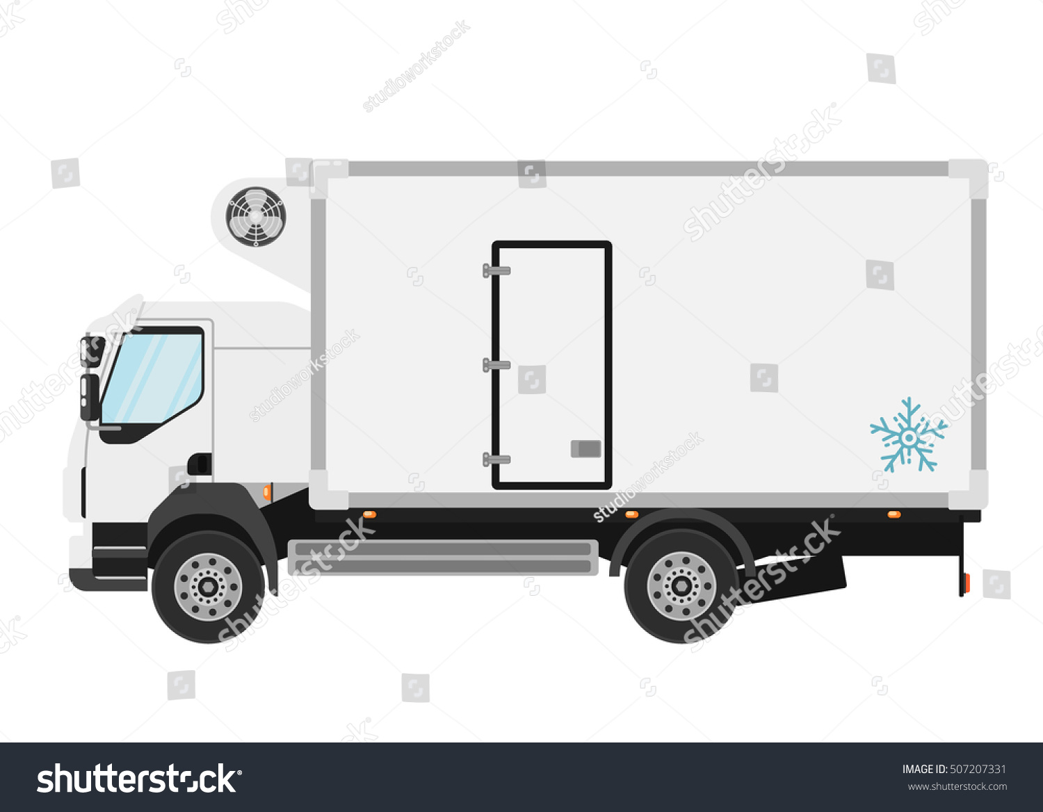 Refrigerated Truck Vehicle : Commercial refrigerated truck isolated on white stock
