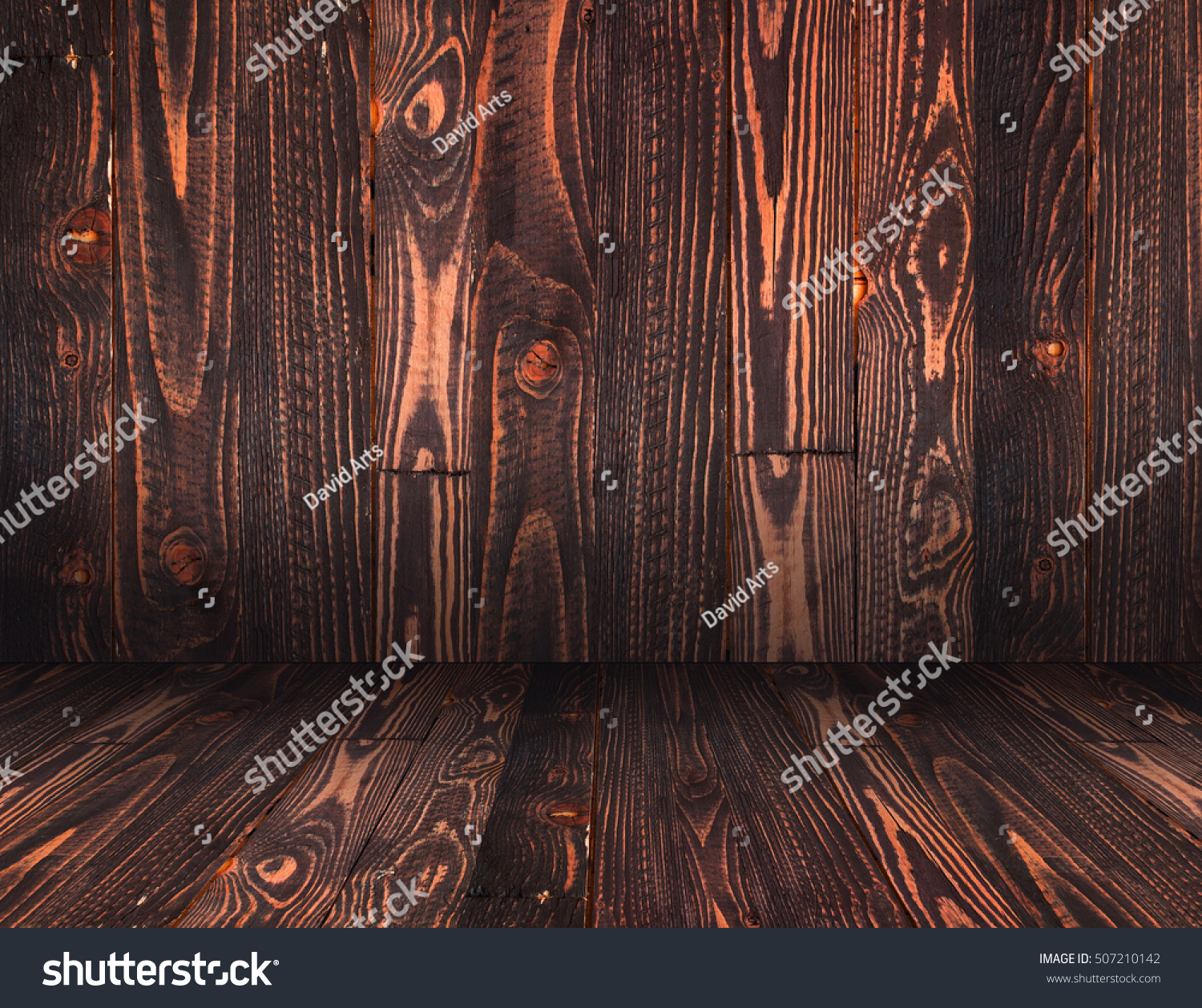 Natural Dark Wooden background. Old dirty wood tables or parquet with knots and holes and aged partculars. #507210142