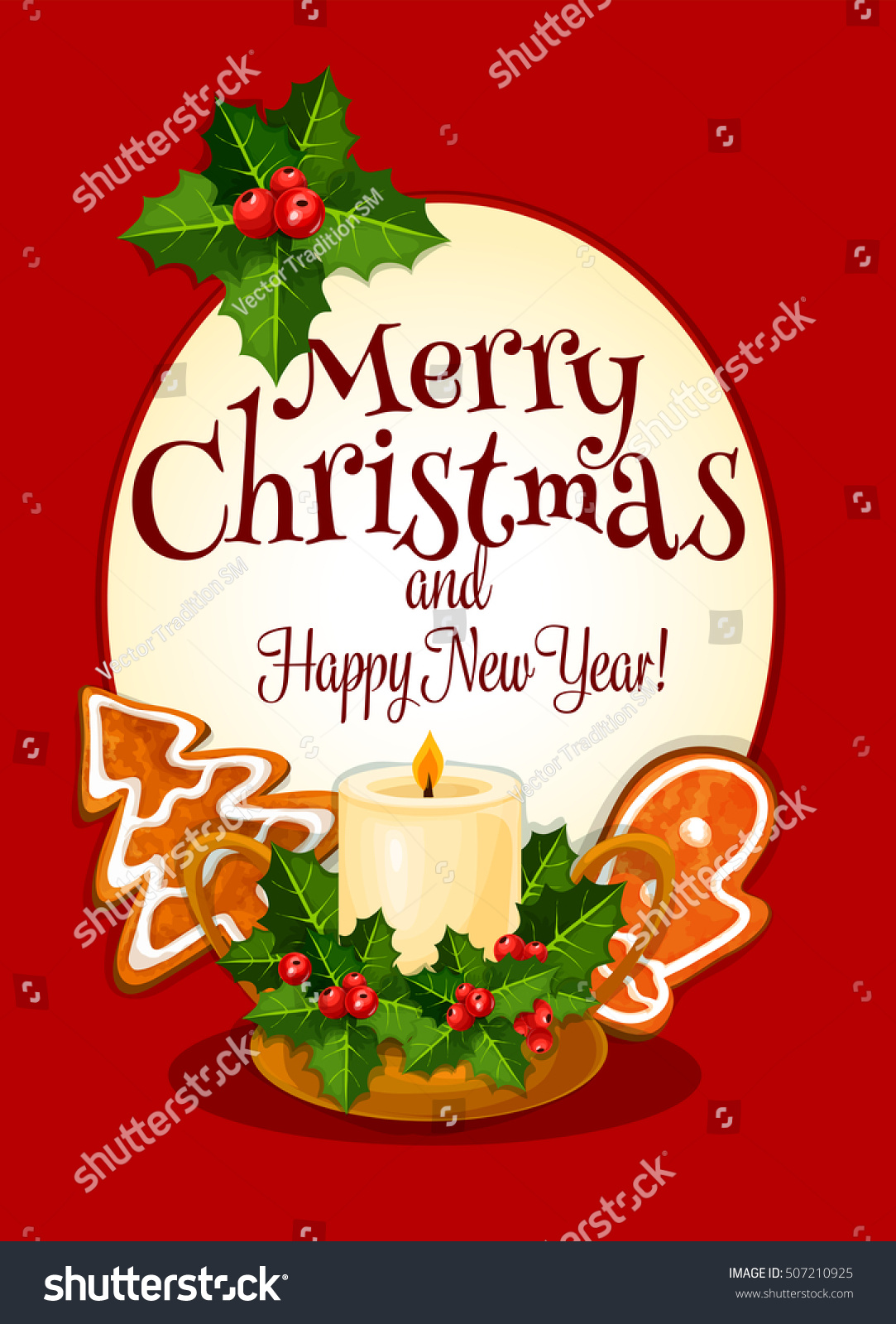 Christmas Candle Greeting Card Christmas Candle Stock Vector