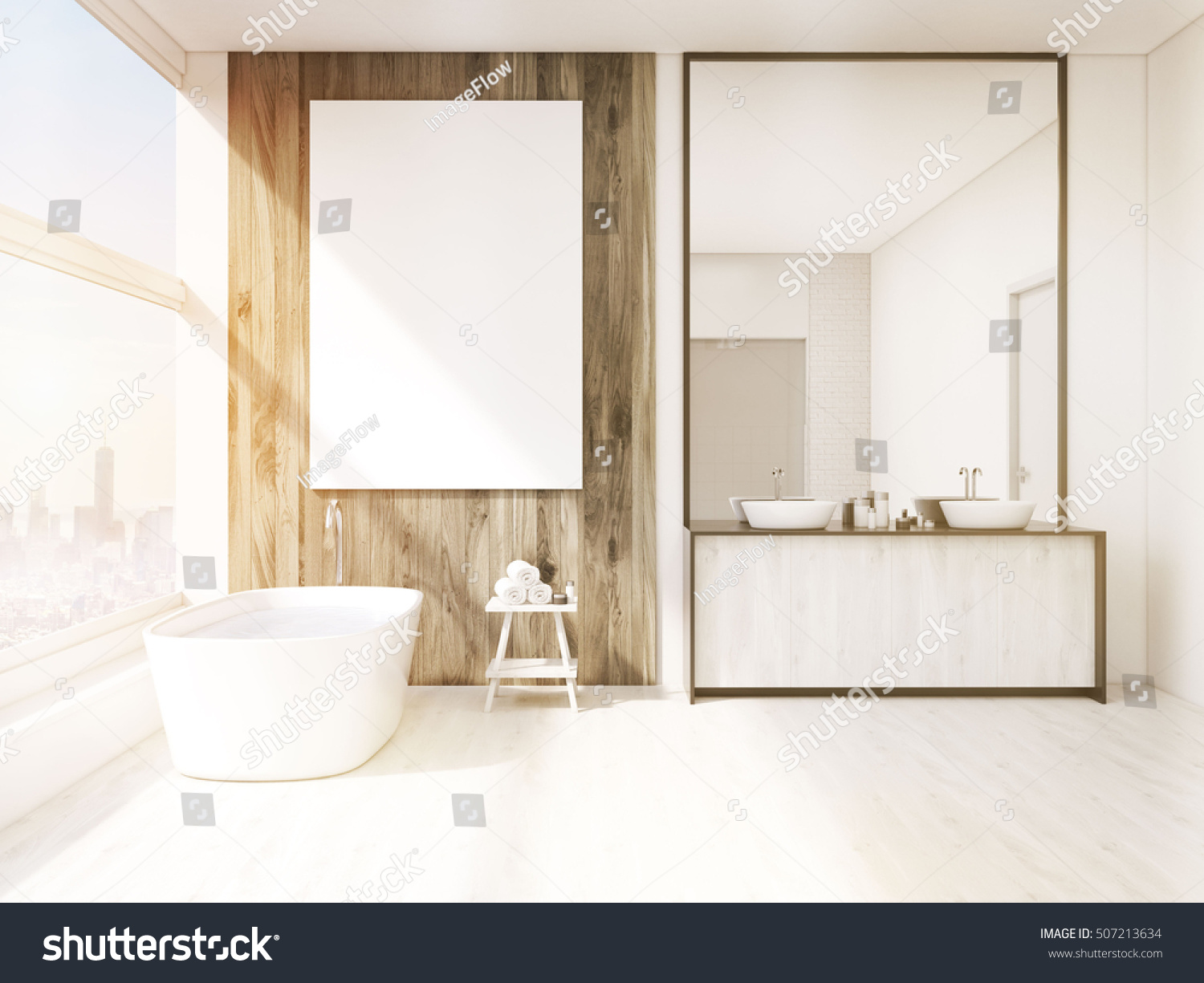 White bathroom interior with a white wooden floor, a window, a ...