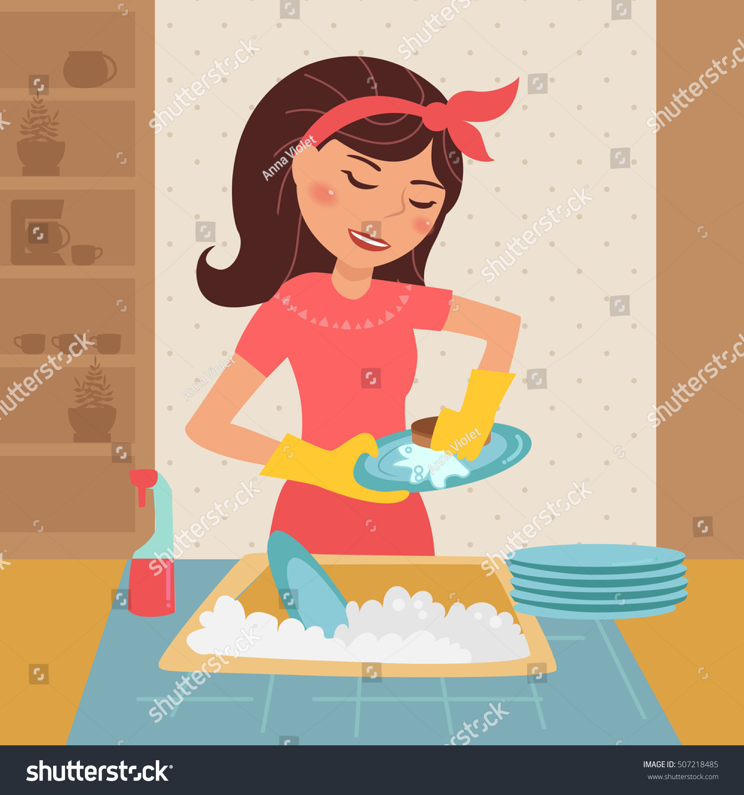 Kitchen Clean Up Cartoon: Woman Washing Dishes Vector Illustration Cartoon Vectores
