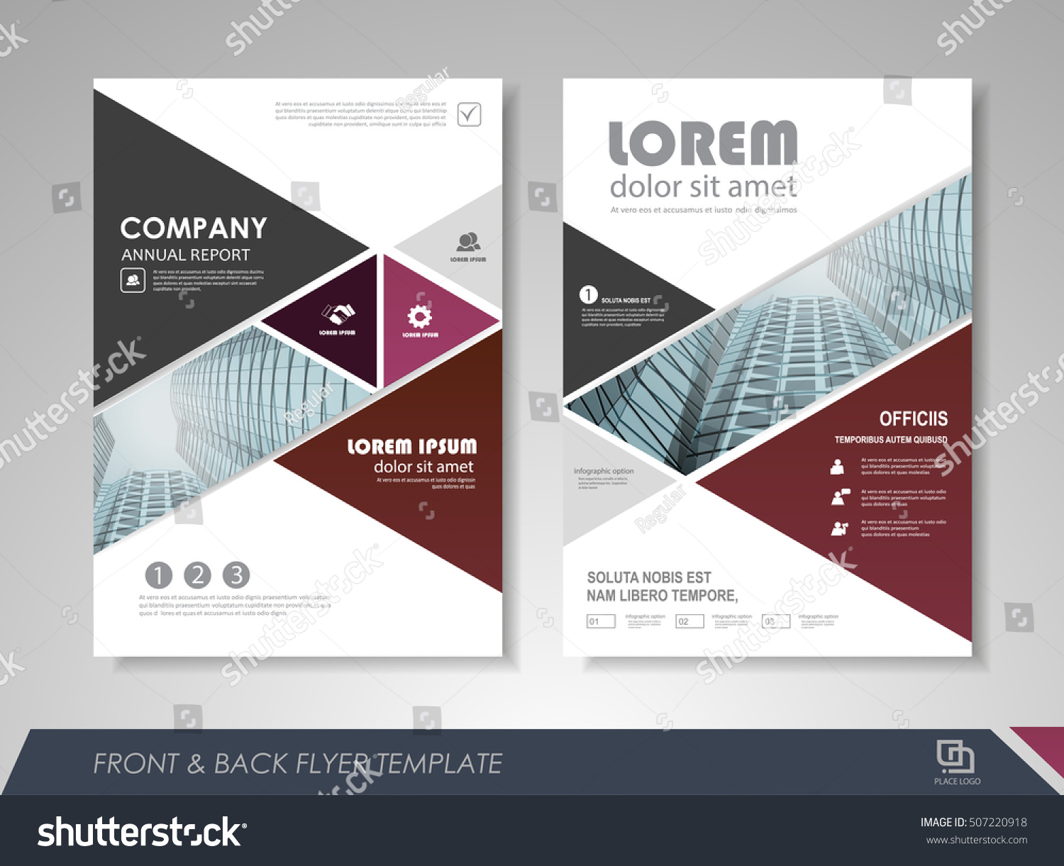 brochure front cover design - front back page annual report brochure stock vector