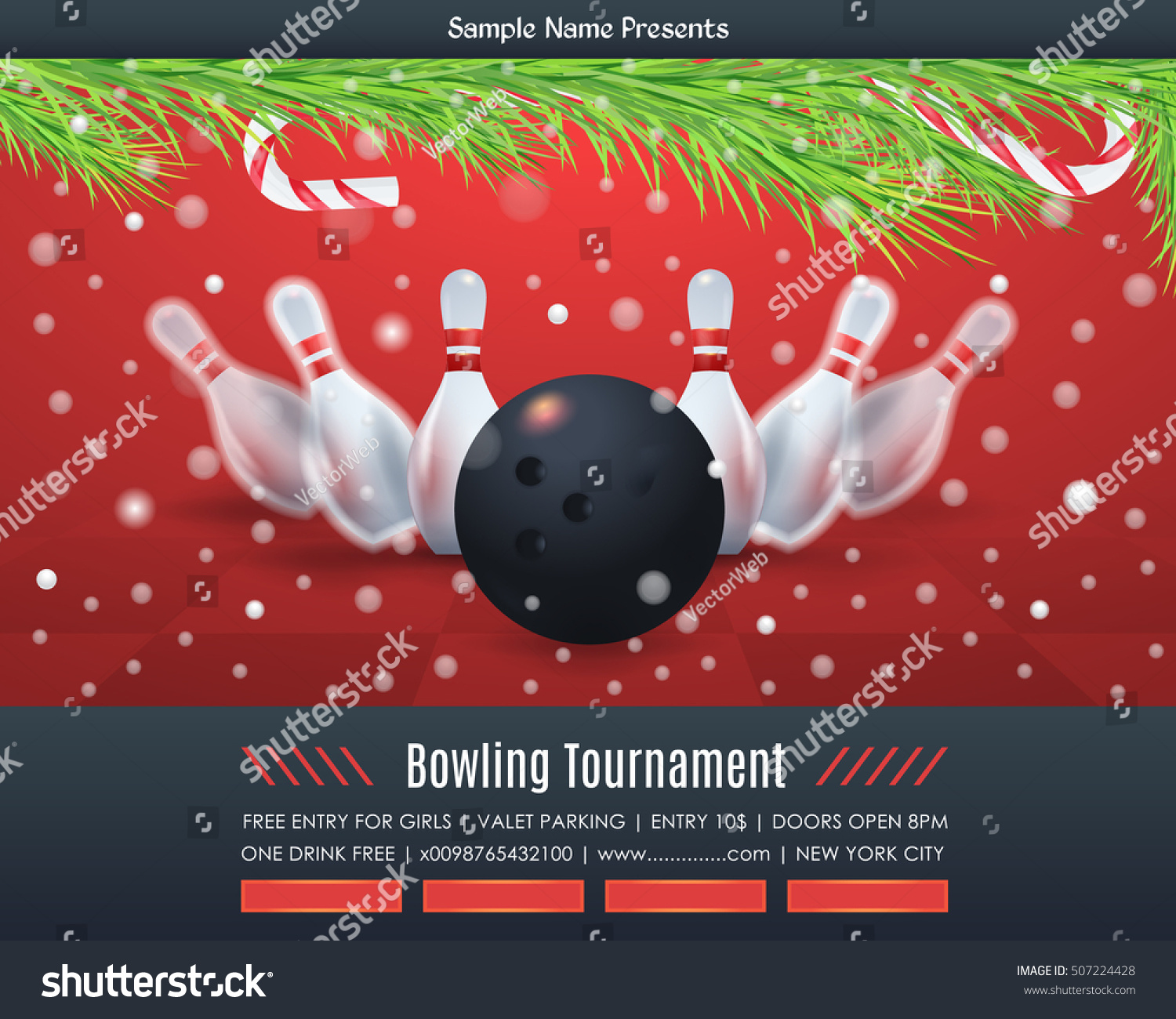 Bowl Tournament Christmas Event Bowling Poster Stock Vector