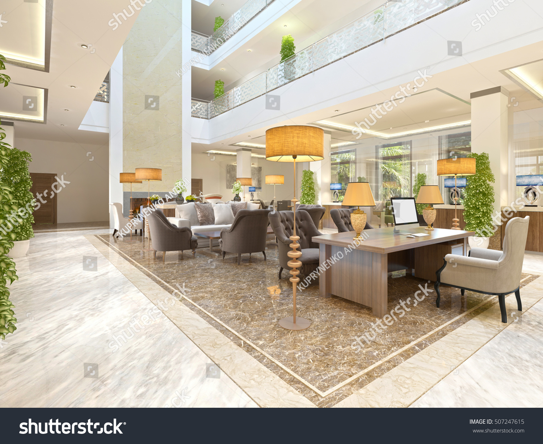 interior design lounge area fireplace luxurious stock illustration
