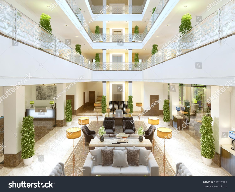 Luxury Interior Design Lounge Area Hotel Stock Illustration ...