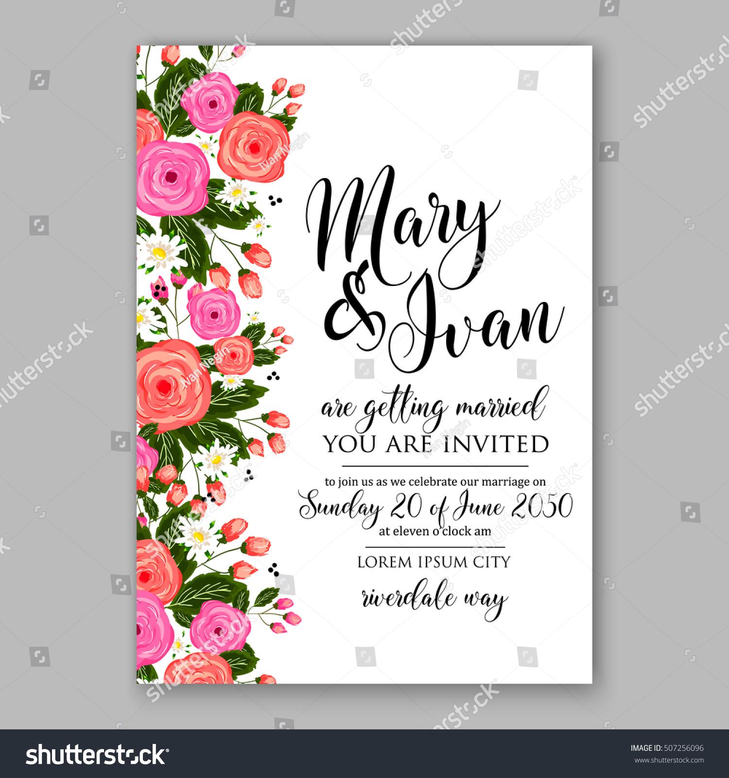 Wedding Invitation Printable Template Floral Wreath Stock Vector ...