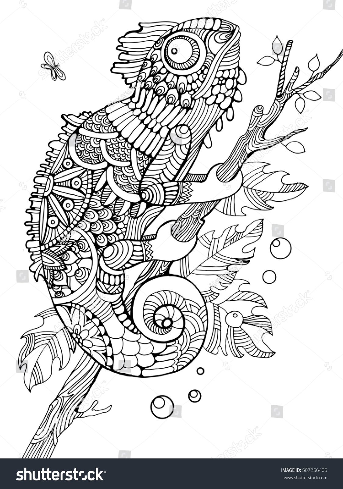 Anti stress colouring book asda - Chameleon Coloring Book For Adults Raster Illustration Anti Stress Coloring For Adult Tattoo