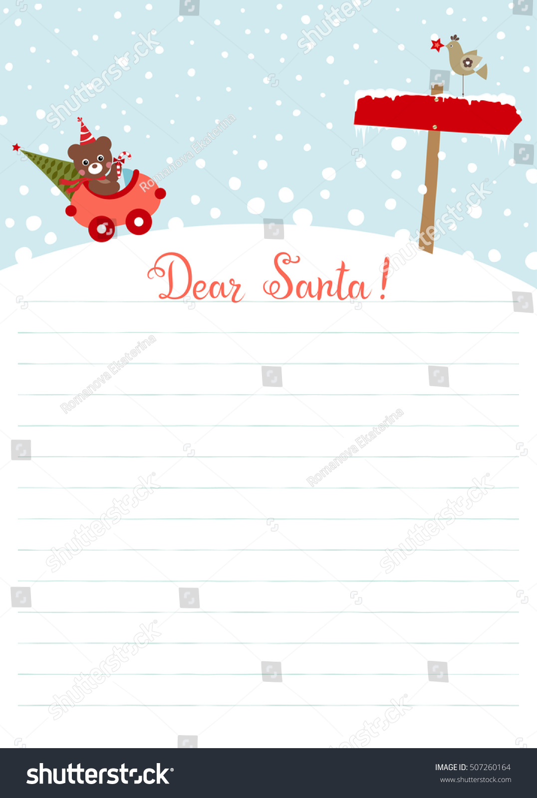 template christmas letter santa claus use stock vector 507260164