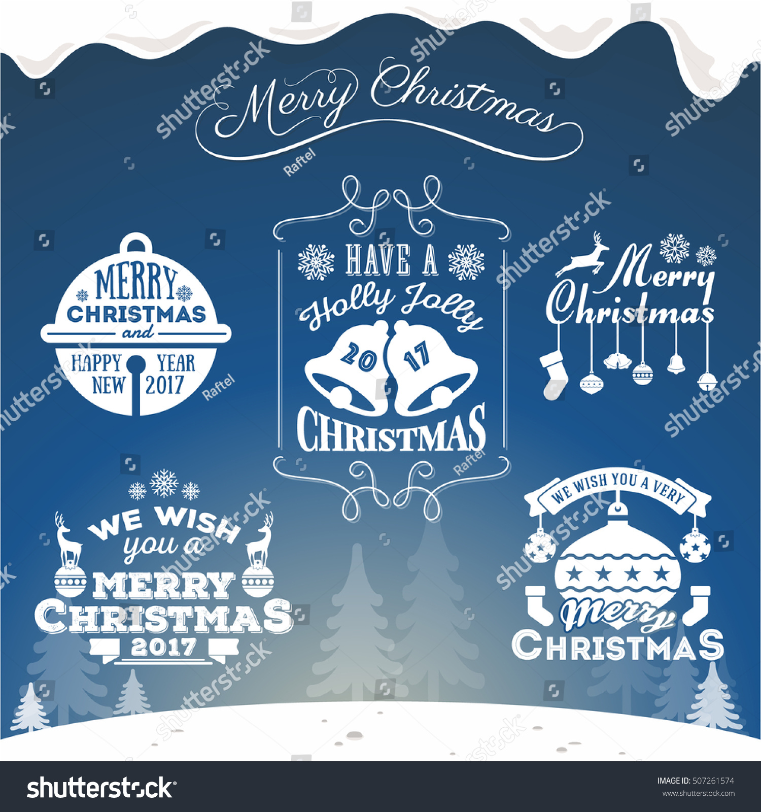 Set Christmas Decoration Typography Tag Label Stock Vector Royalty