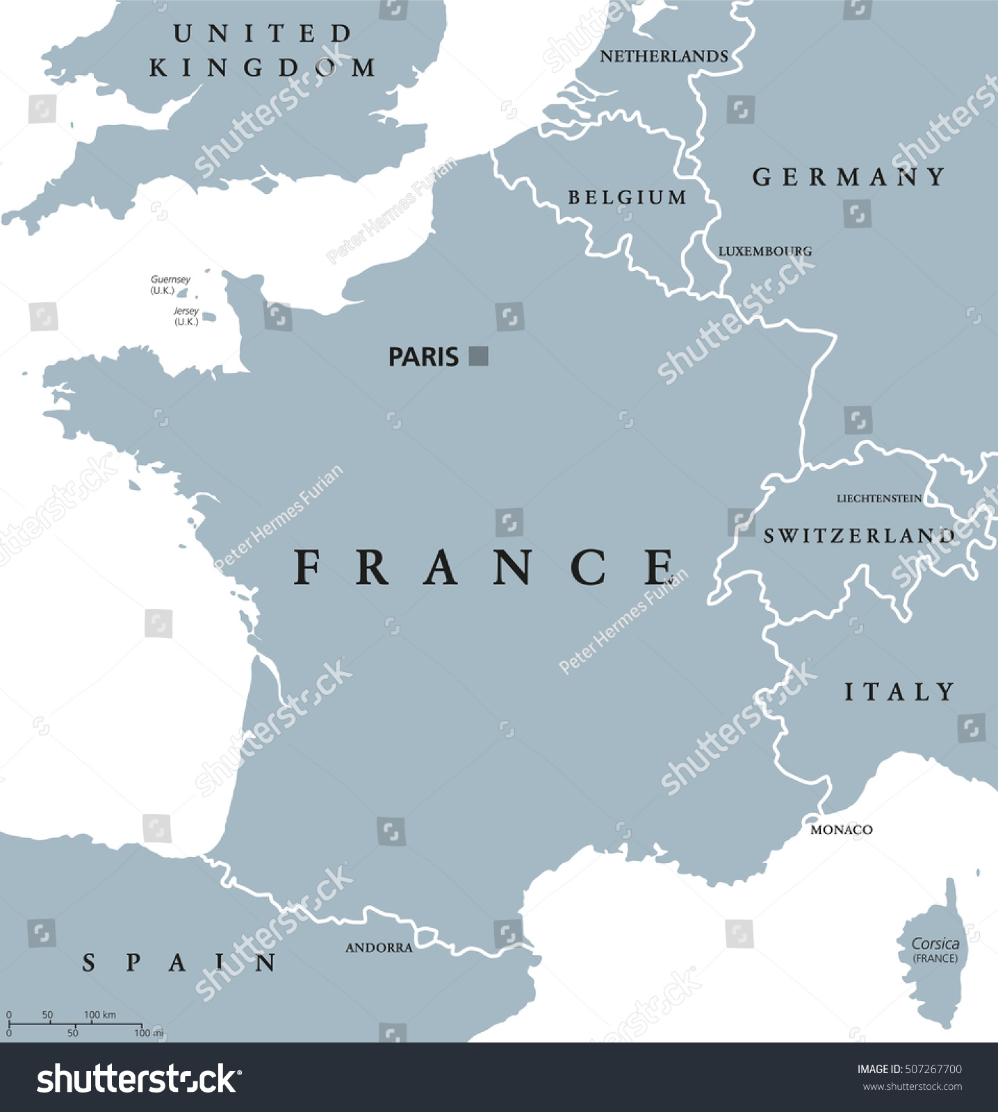 France Political Map Capital Paris Corsica Stock Vector (Royalty ...