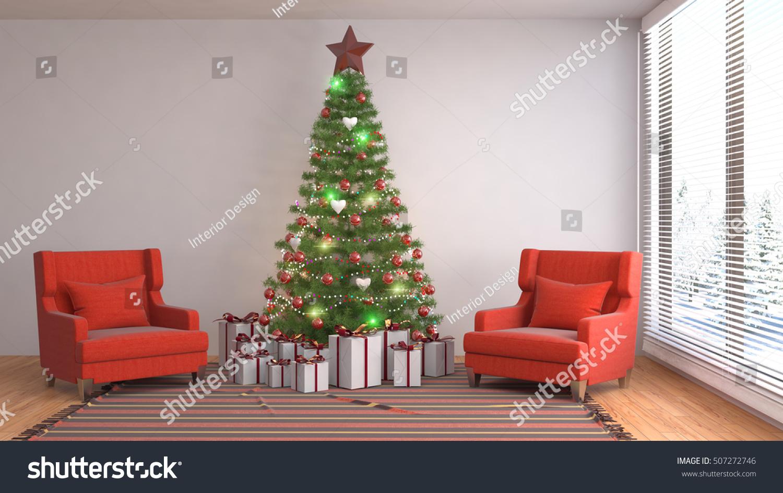 Christmas tree decorations living room 3d stock illustration 507272746 shutterstock for Christmas tree in the living room