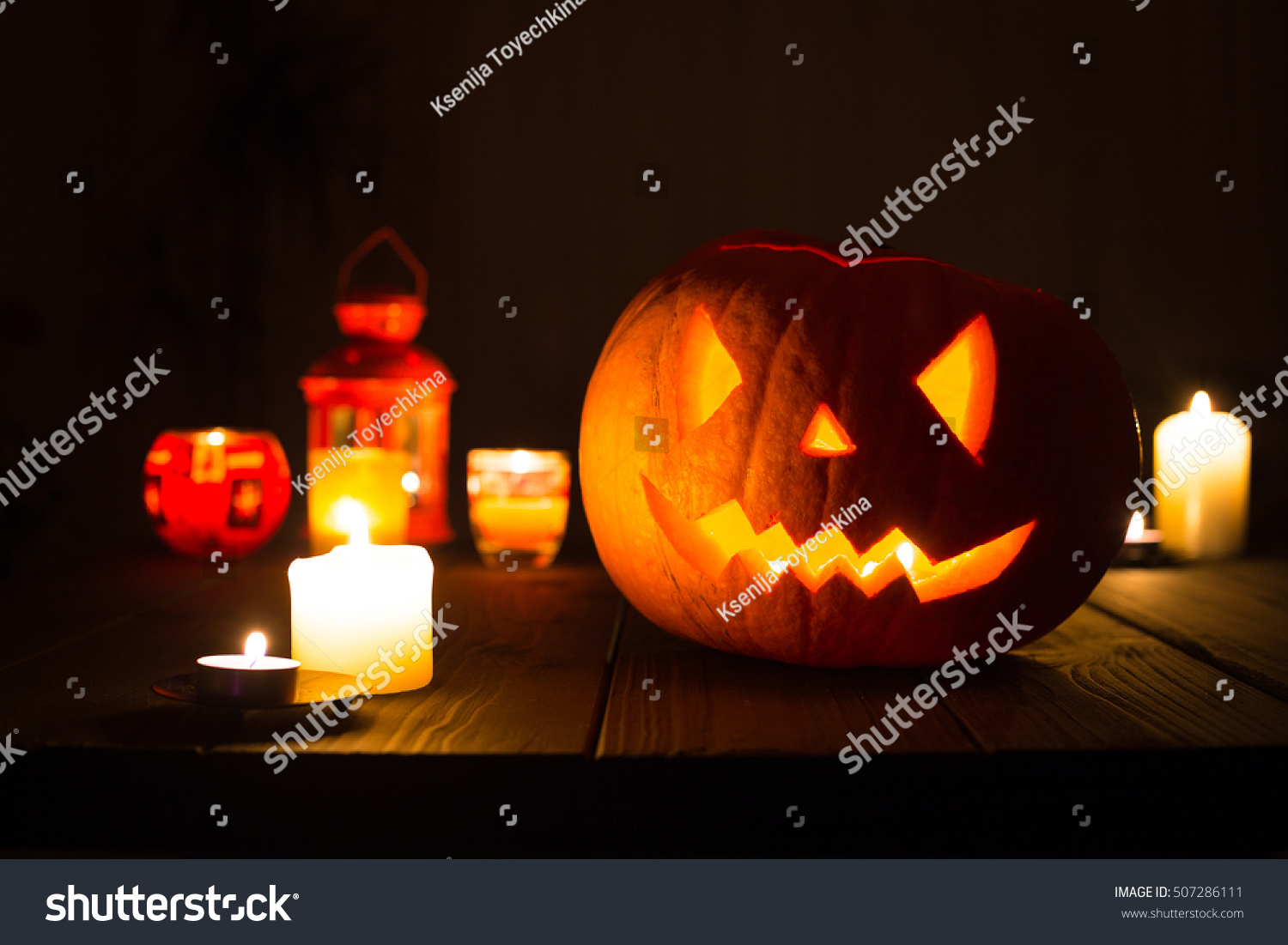 Scary Jack O Lantern Halloween Pumpkin Food And Drink Stock Image
