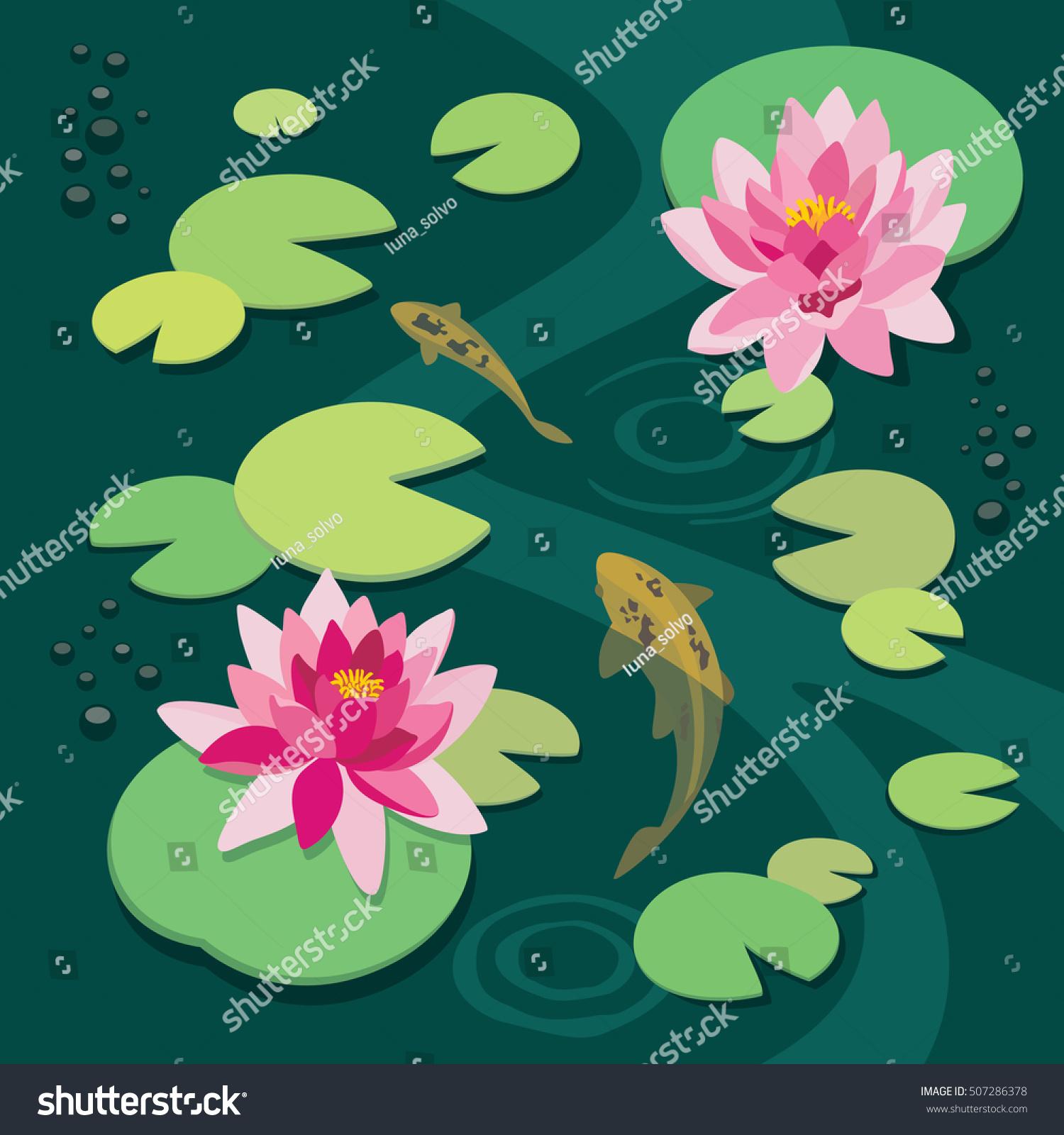 Pink lotus koi fish old pond stock vector 507286378 for Koi fish pond lotus