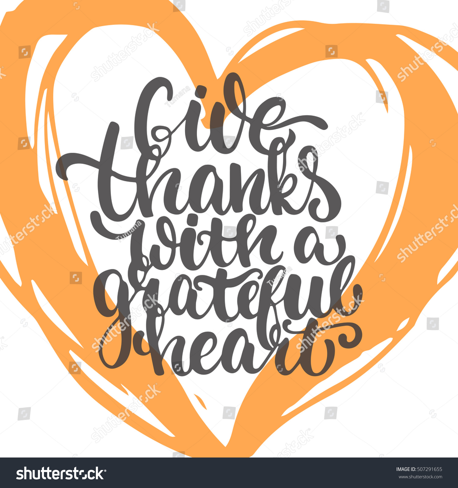Give thanks grateful heart thanksgiving day stock vector 507291655 give thanks with a grateful heart thanksgiving day lettering calligraphy phrase autumn greeting card kristyandbryce Images