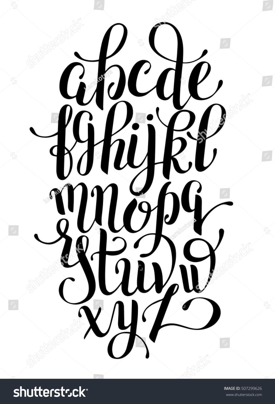Black And White Hand Lettering Alphabet Design Handwritten Brush Script Modern Calligraphy Cursive Font Vector