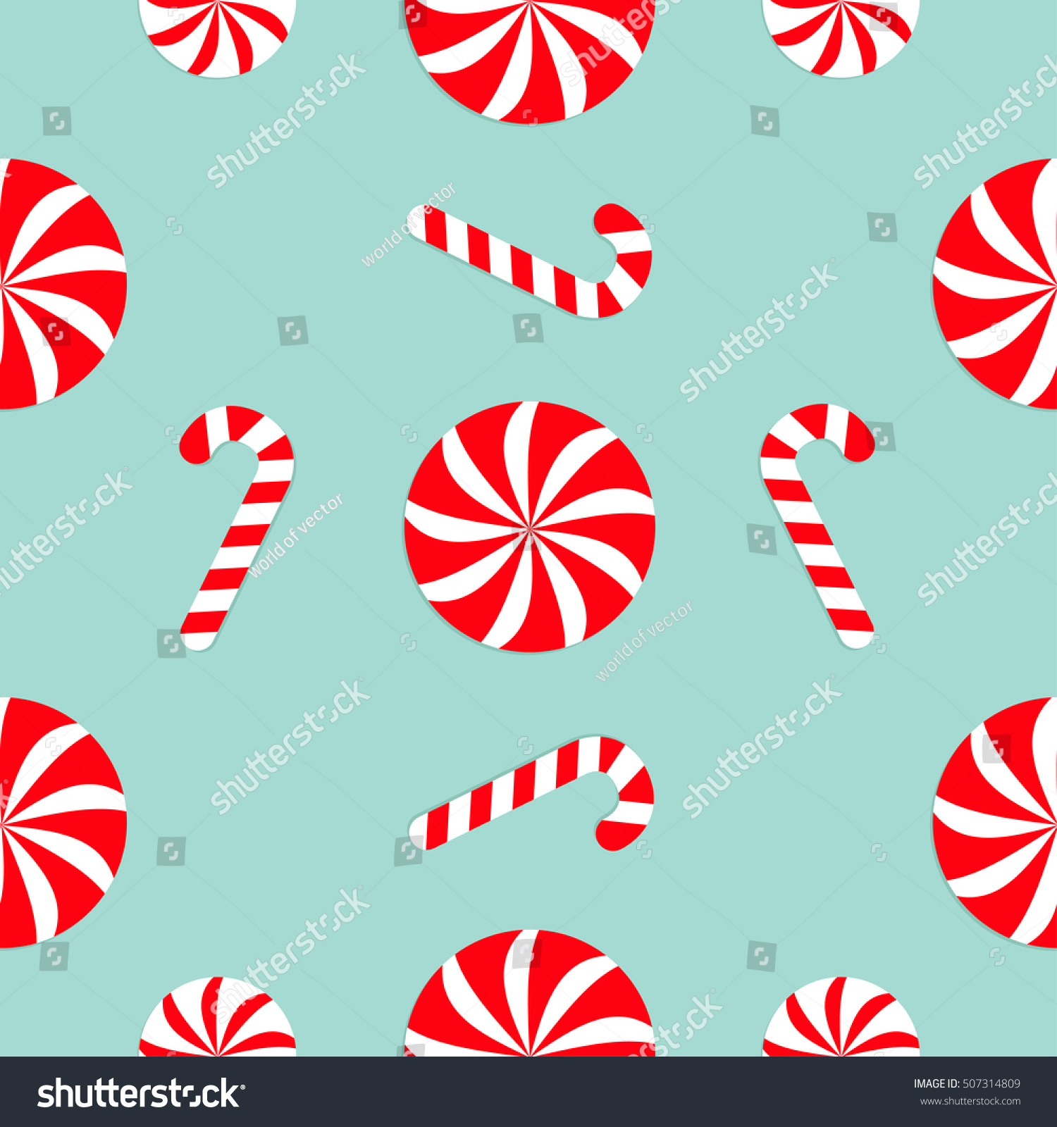 christmas candy cane round white red stock vector 507314809