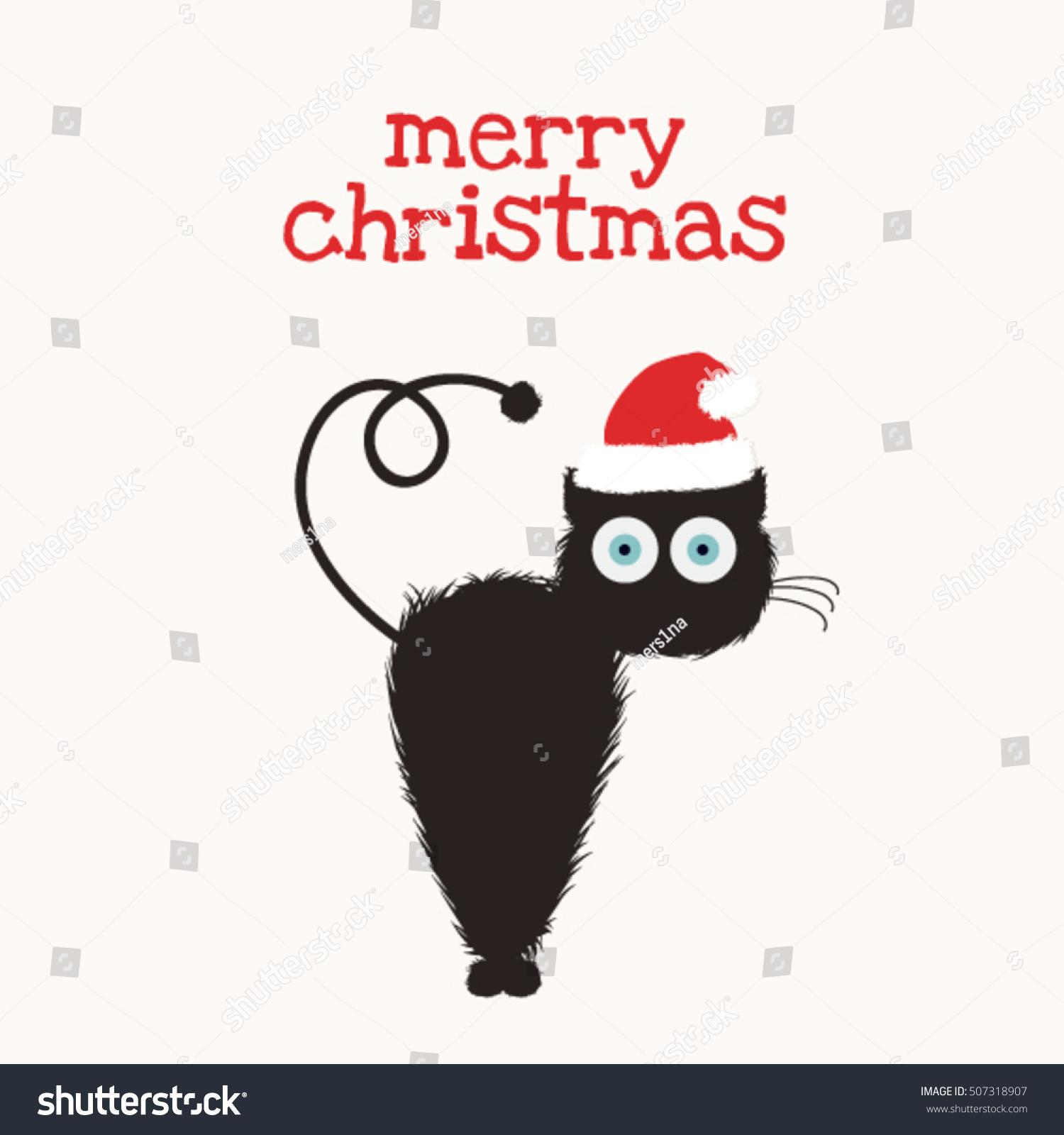 36d071fe37db5 Merry Christmas Cute Funny Black Cat Stock Vector (Royalty Free ...