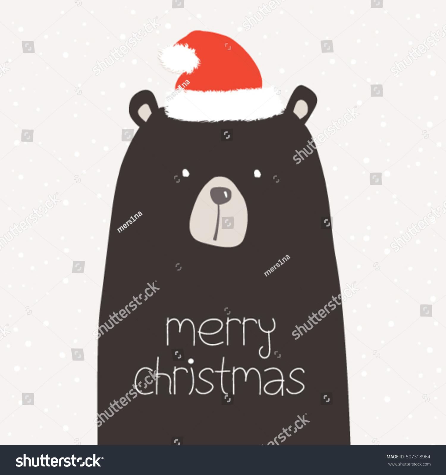 Christmas Card Black Bear Wearing Santa Stock Vector 507318964