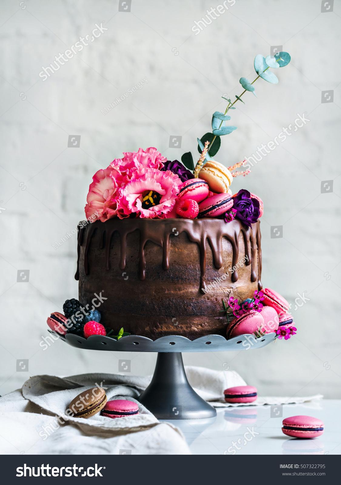 Chocolate Wedding Cake Flowers Macarons Blueberries Stock Photo