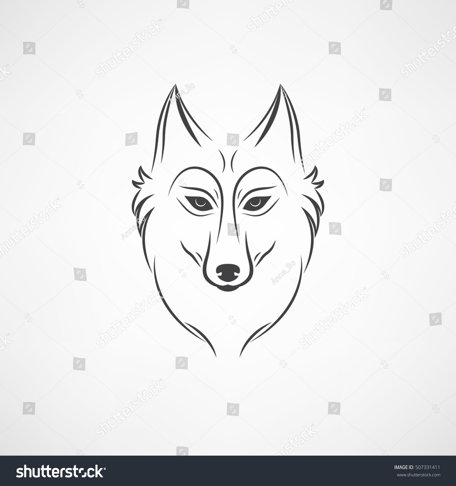 wolf silhouette vintage wolf face logo stock illustration 507331411