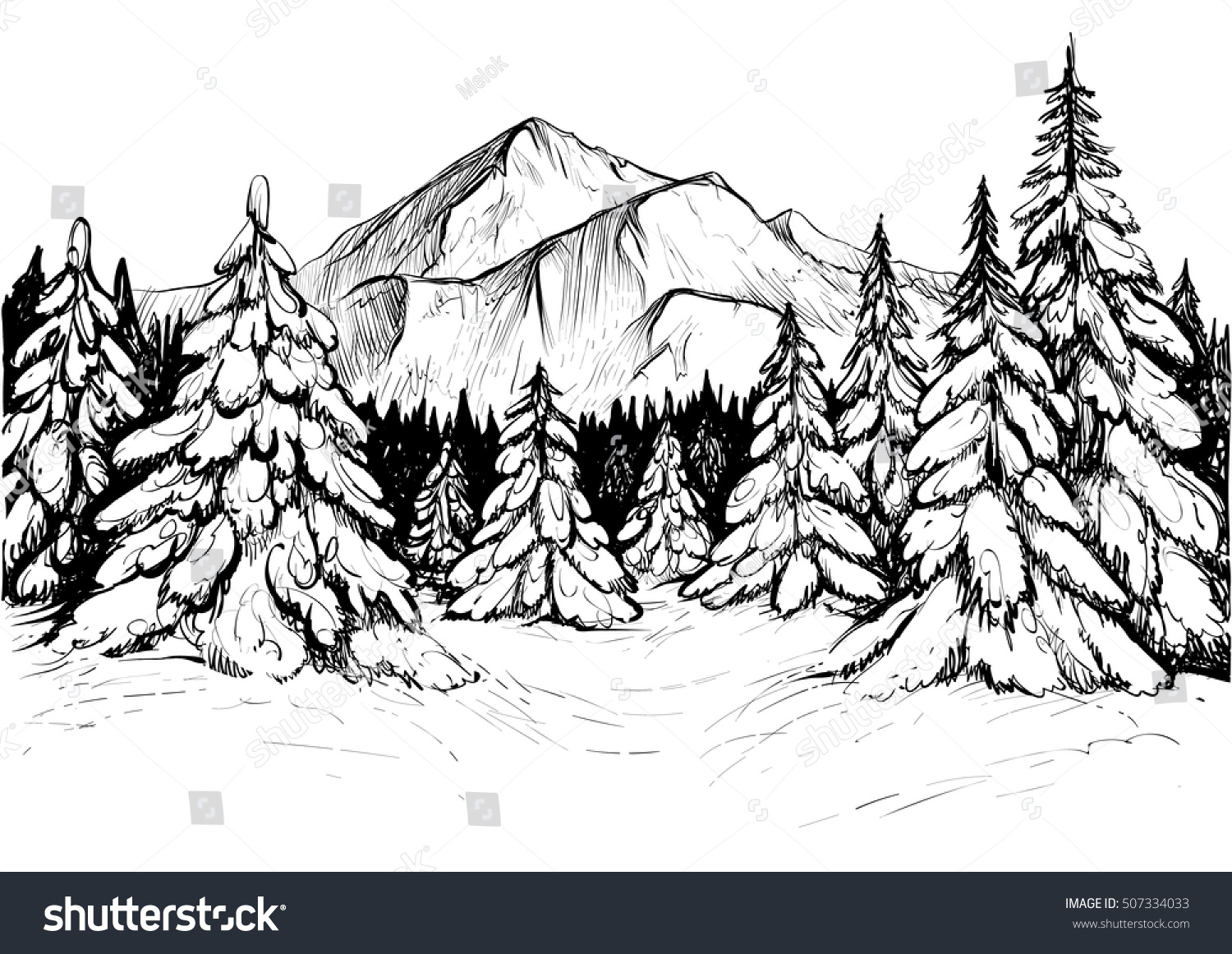 Line Art Mountain : Winter forest sketch black white vector stock