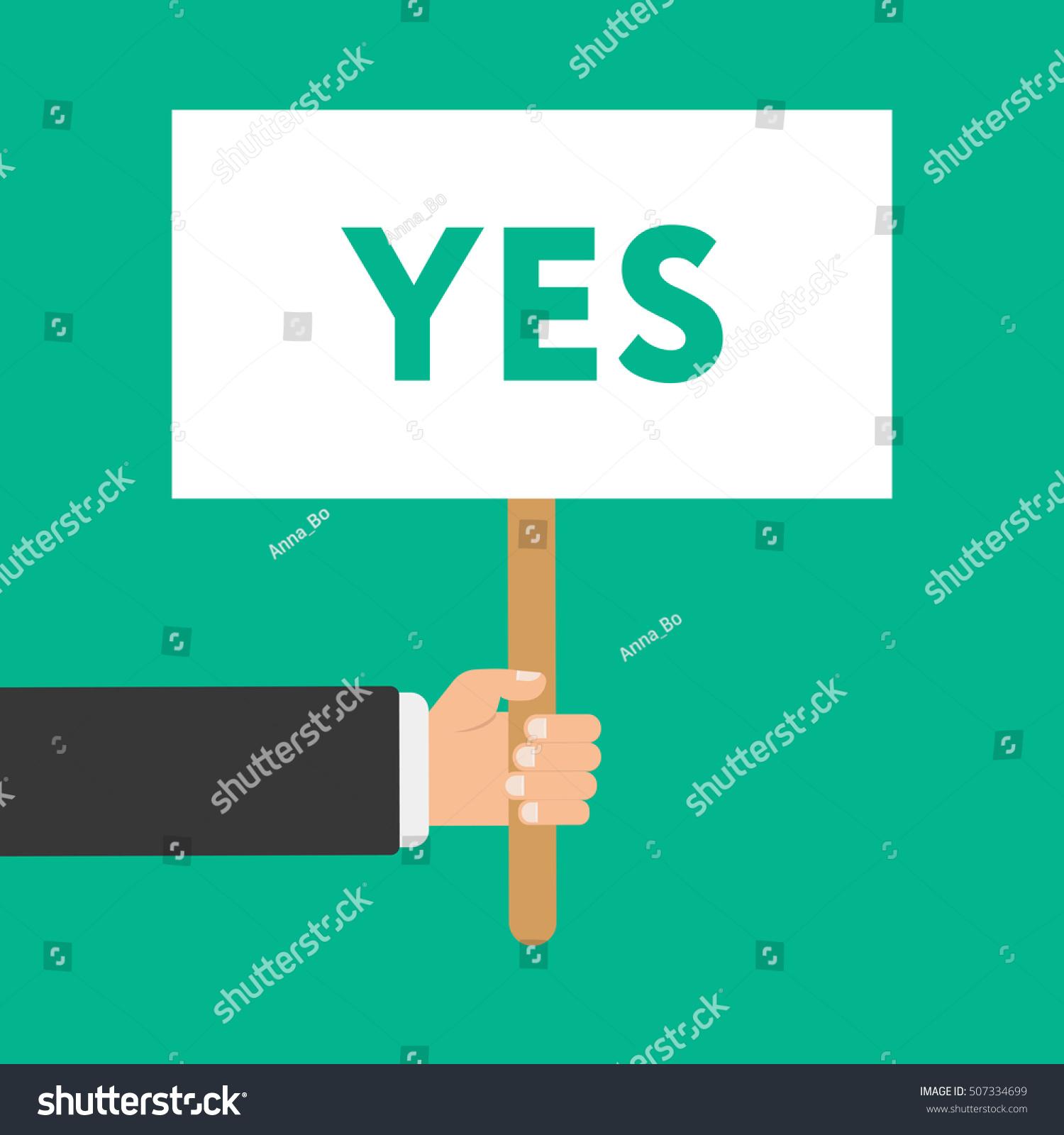Businessmen holding signboard word yes illustration stock businessmen holding a signboard with the word yes illustration in flat style isolated buycottarizona