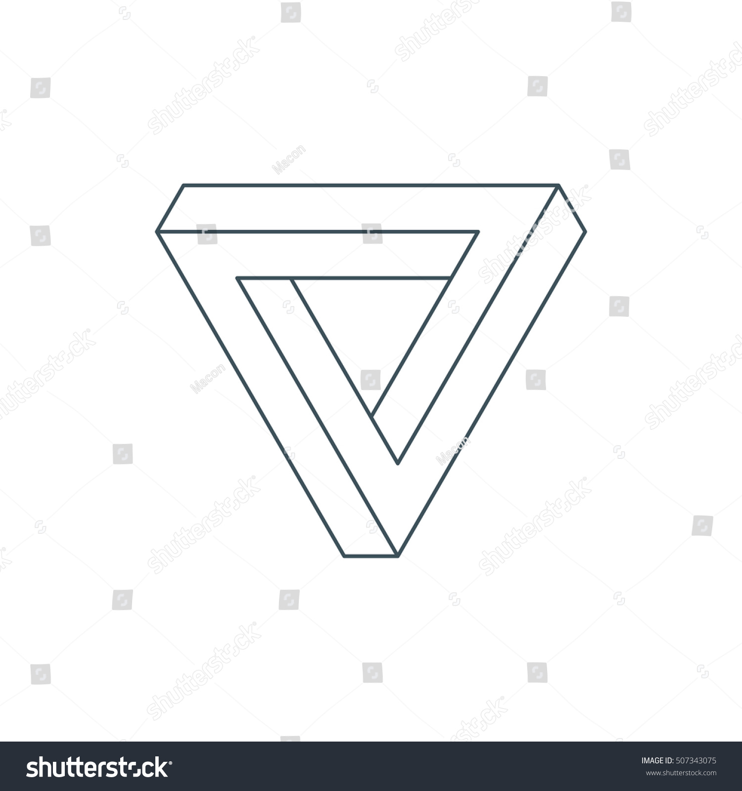 Thin line penrose triangle impossible triangle stock vector thin line penrose triangle impossible triangle sacred geometry esoteric or science symbol pooptronica