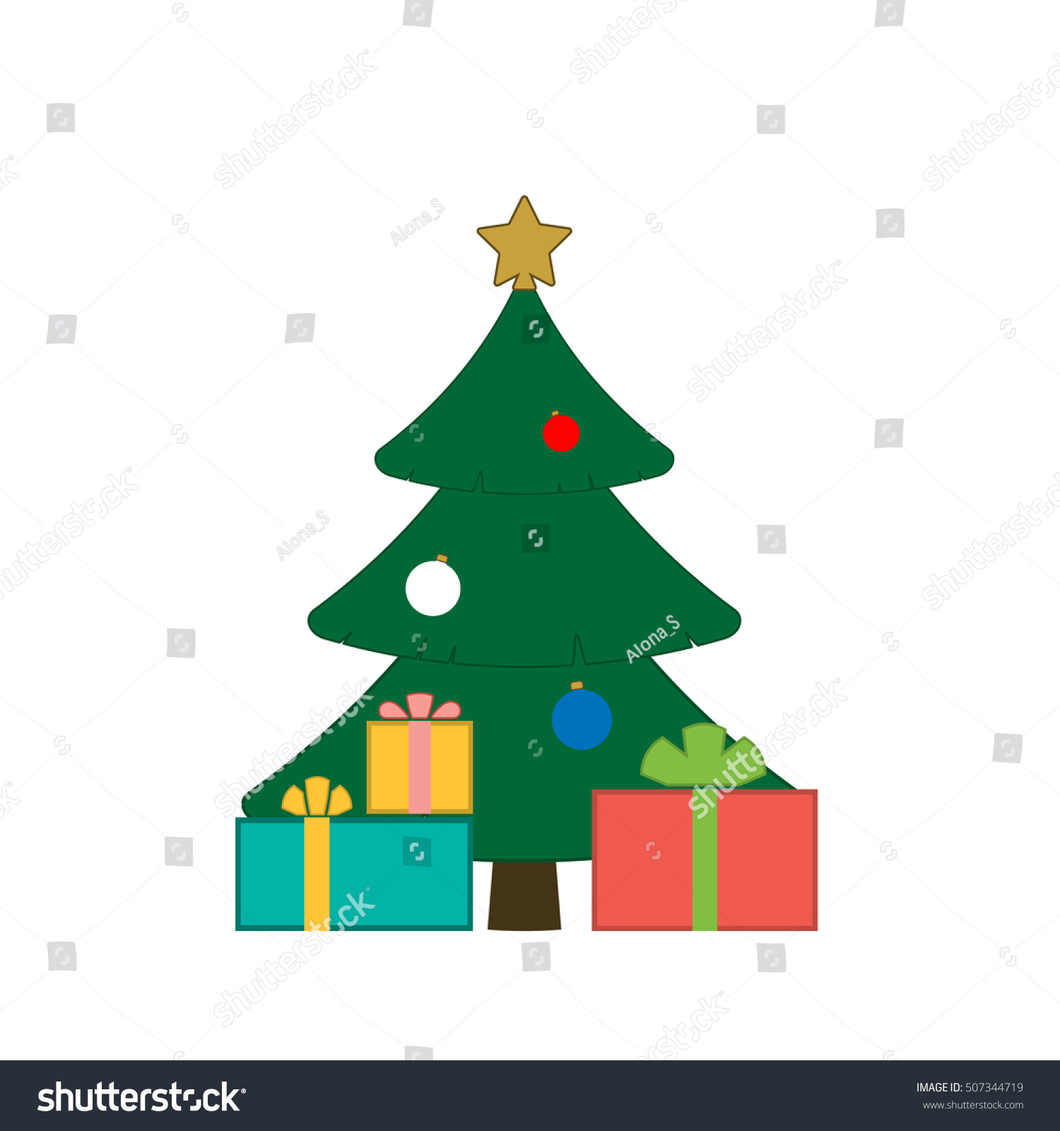 Christmas tree balls star gift cartoon stock vector