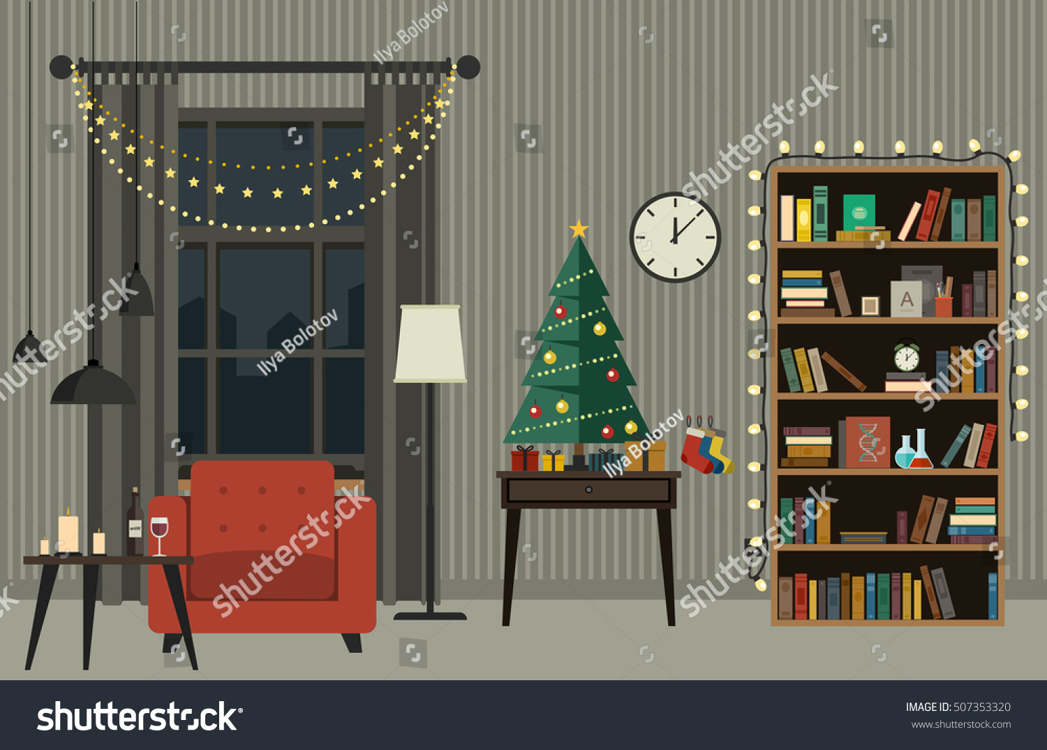 Christmas Tree Living Room Furniture Flat Stock Vector