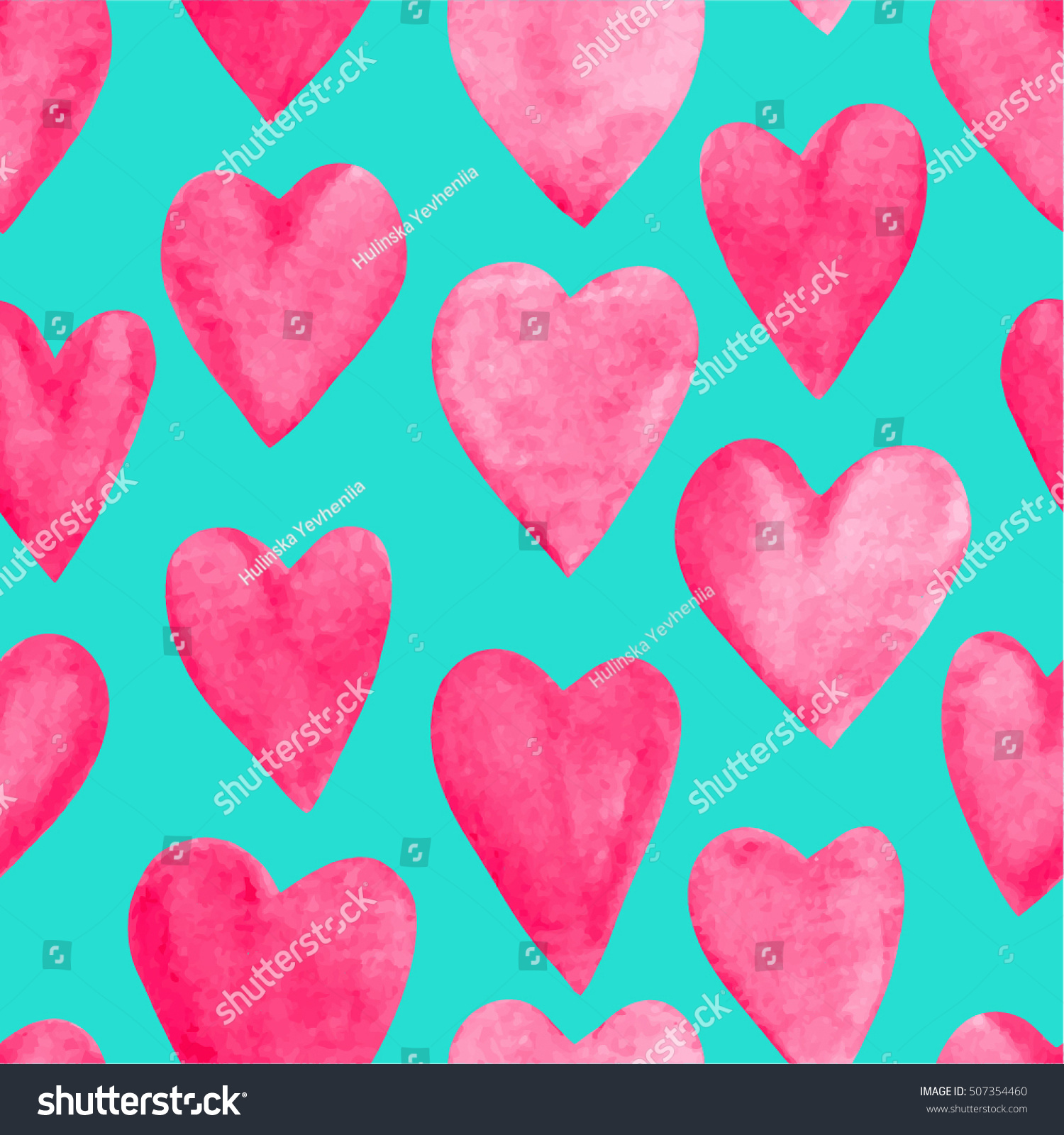 Romantic vector seamless background greeting card wallpaper vector art - Beautiful Vector Illustration Seamless Pattern With Red Watercolor Hearts Background Romantic Design For Greeting