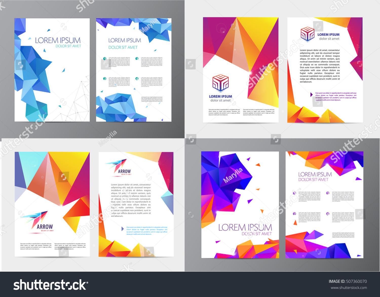 vector set document letter logo style stock vector  vector set of document letter or logo style cover brochure and letterhead template design mockup