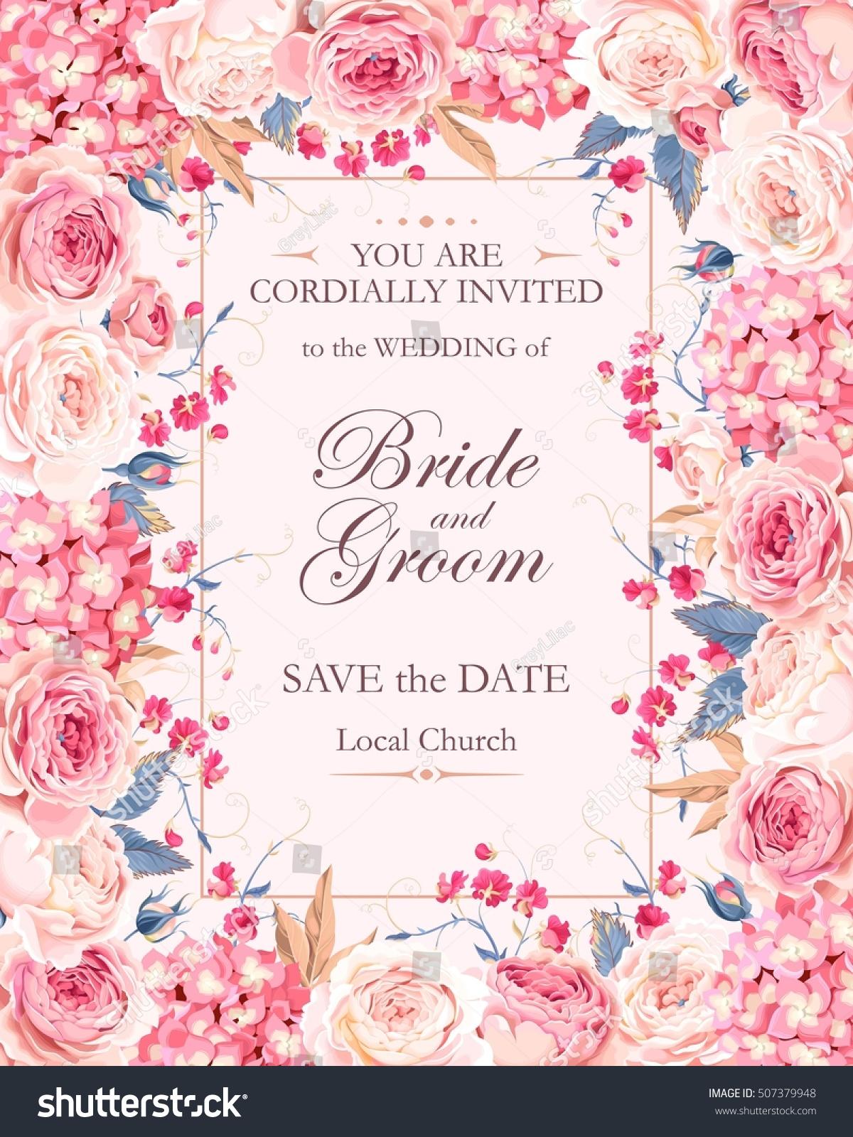 Vintage Wedding Invitation Vector 507379948 Shutterstock – Floral Vintage Wedding Invitations