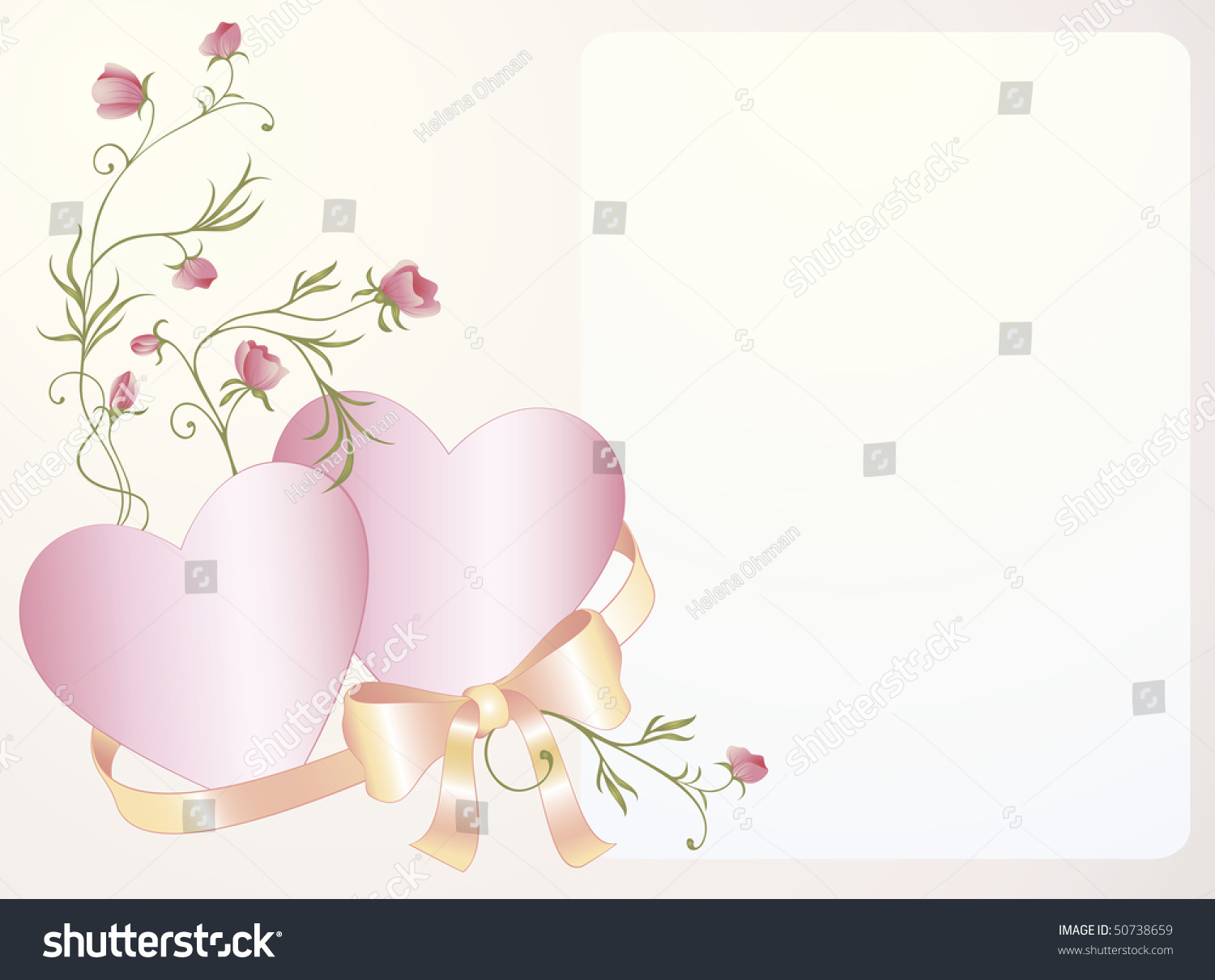 wedding invitation background with hearts rose and silk bow - Wedding Invitation Background