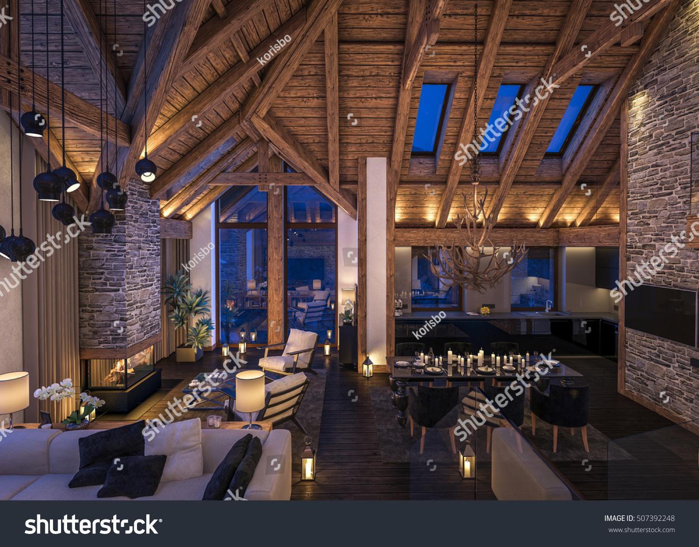 3d Rendering Cozy Living Room On Stock Illustration 507392248 Shutterstock