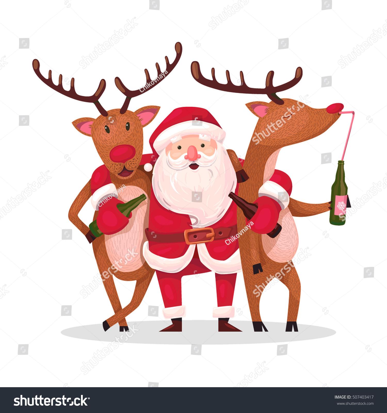 santa claus reindeer alternative christmas very stock vector