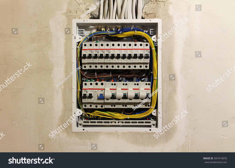 Electrician Apartment During Repair Circuit Breakers Stock Photo Engineer Repairing Board Royalty Free Image In The Repairthe Apartmentelectro