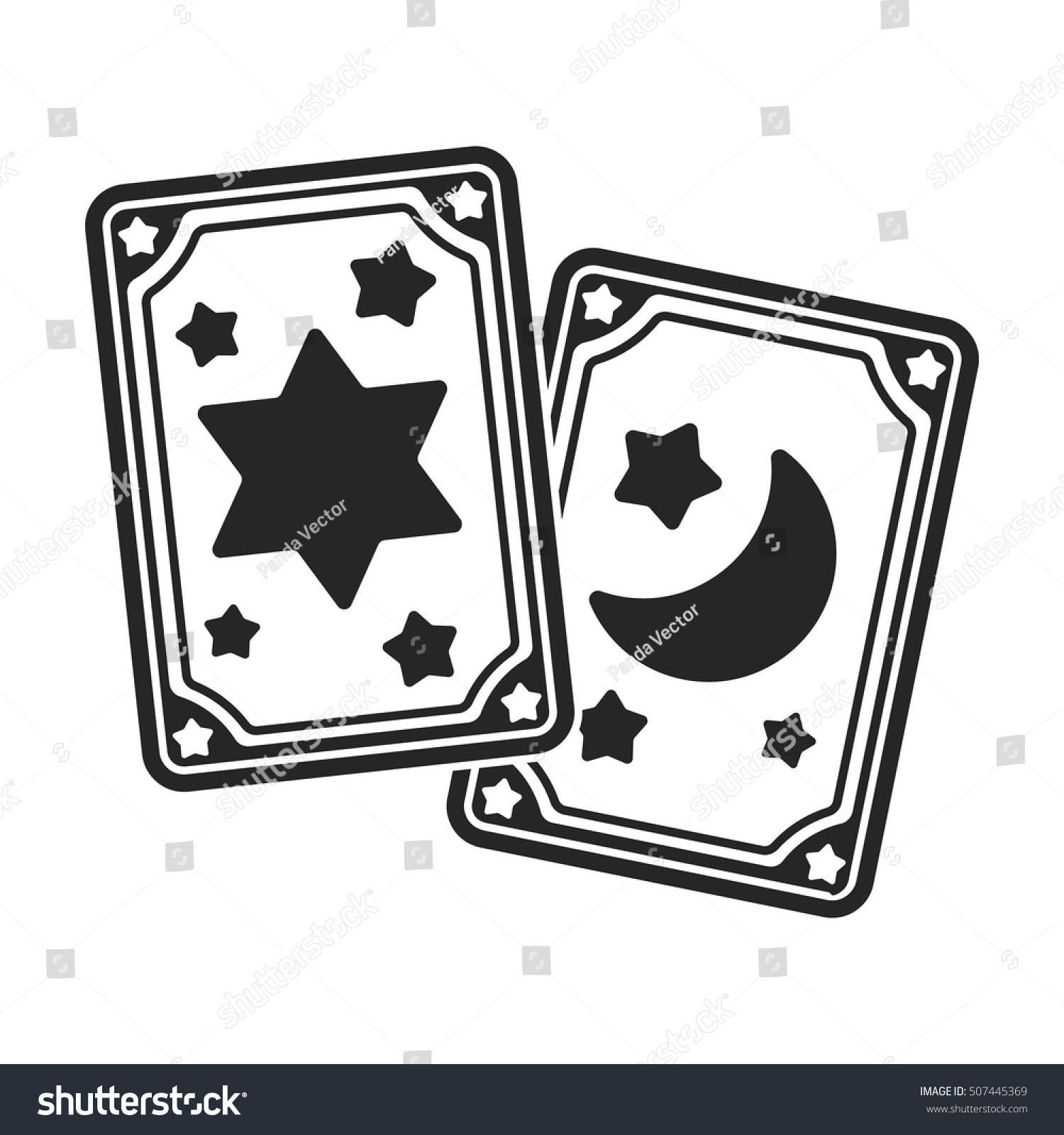 Tarot Cards Icon Black Style Isolated Stock Vector Royalty Free