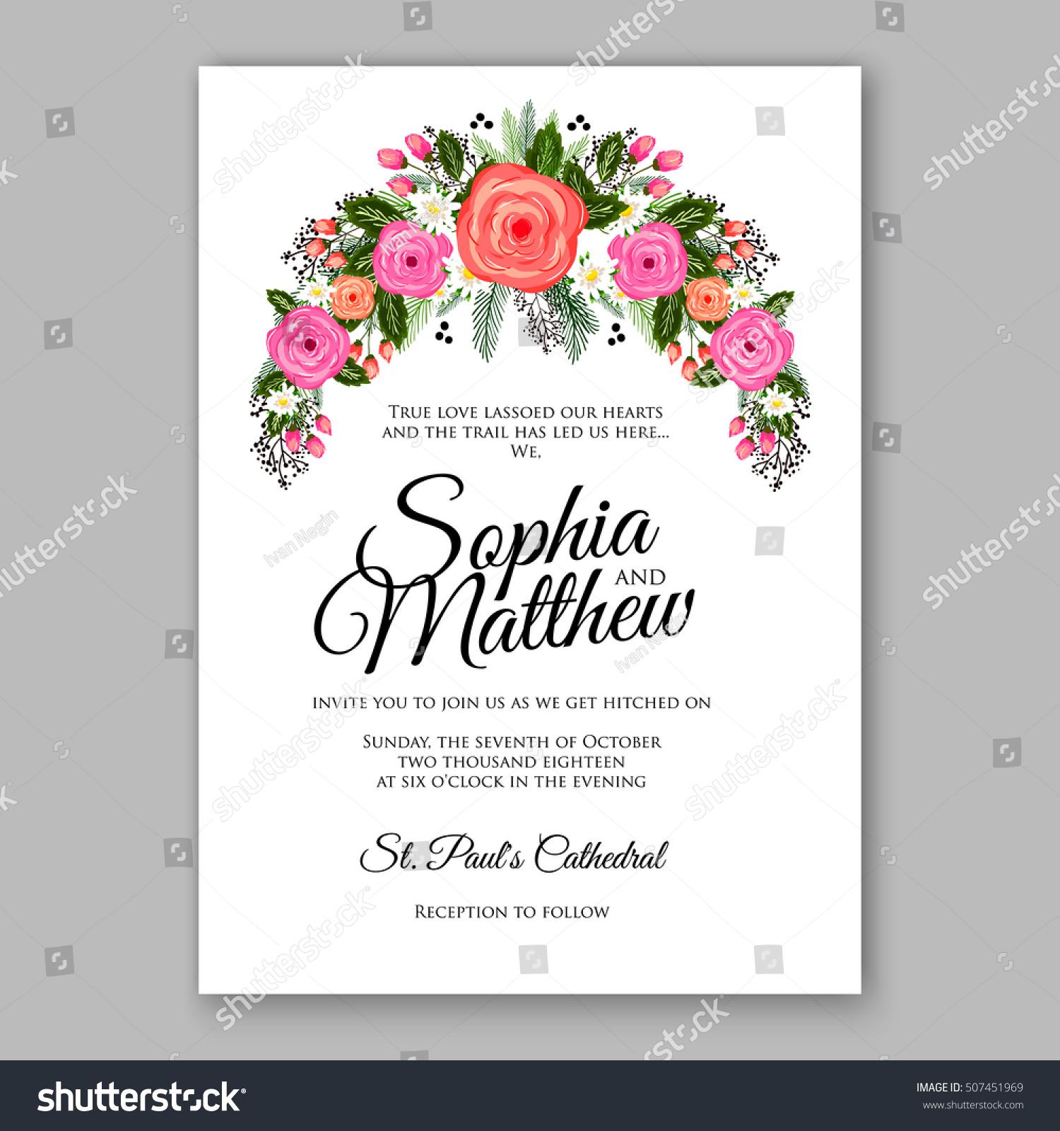 wedding invitation printable template floral wreath stock vector