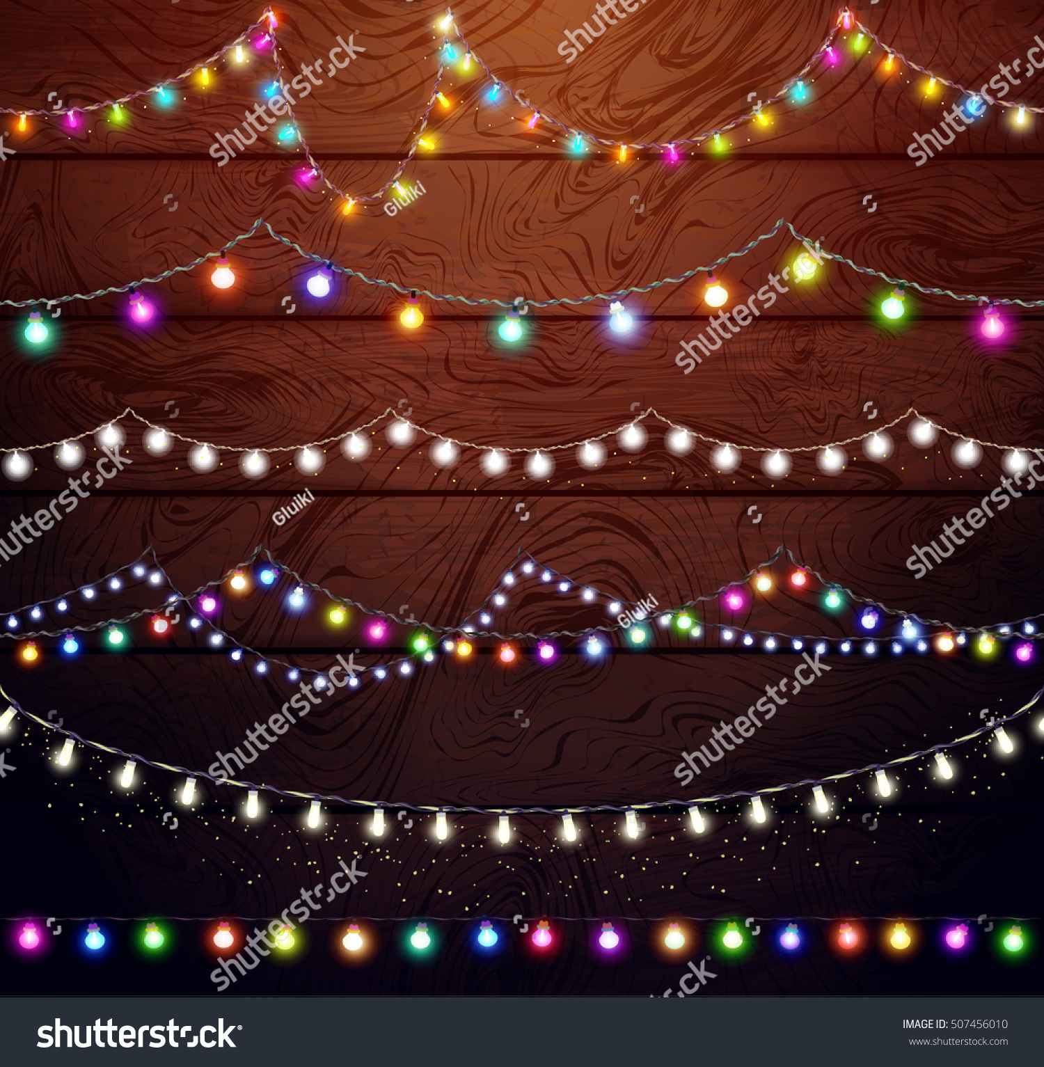 christmas lights set colored garlands new year designfestive decorations on wooden background - Decorating With Colored Christmas Lights