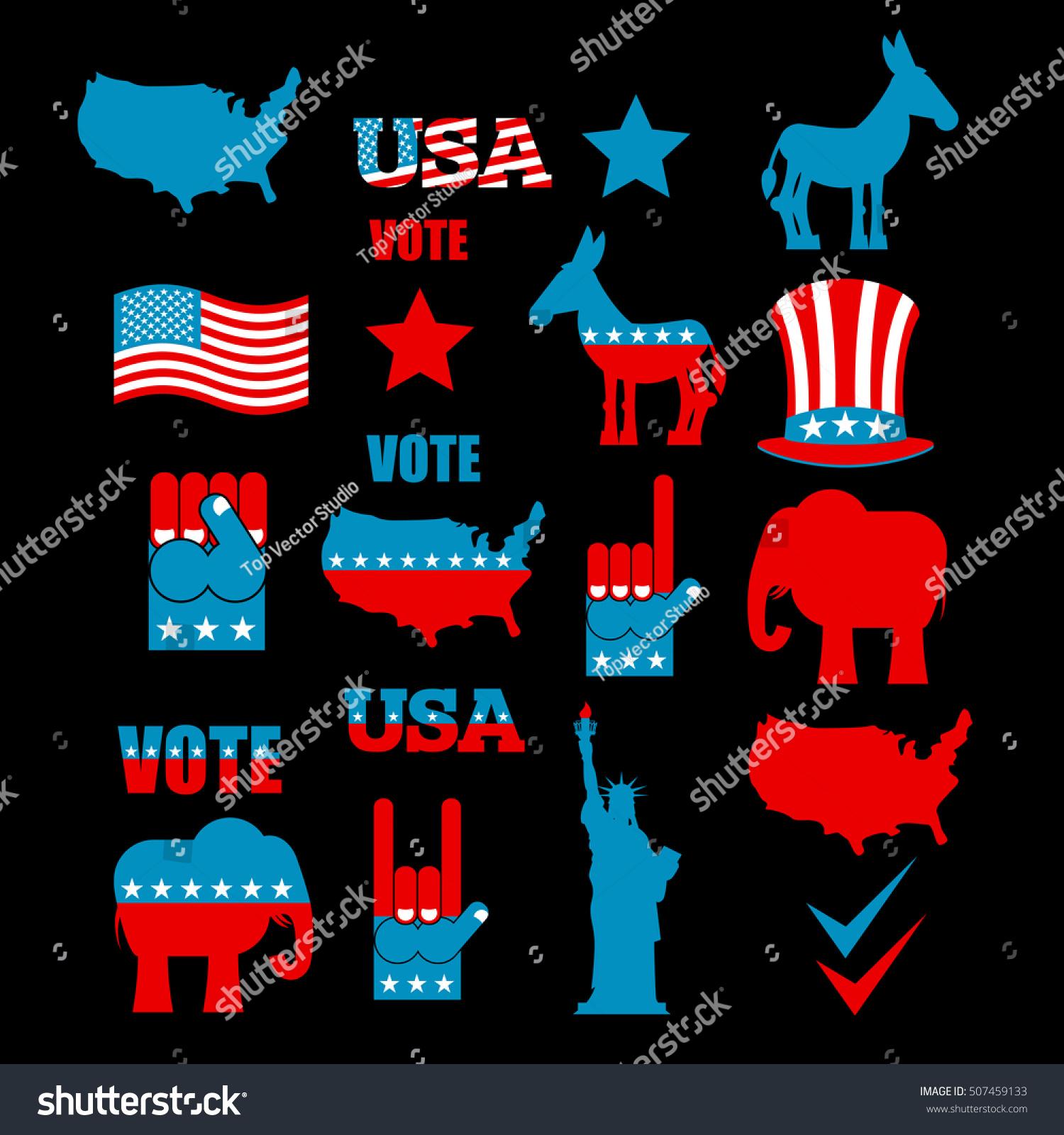 American Elections Icon Set Republican Elephant Stock Vector