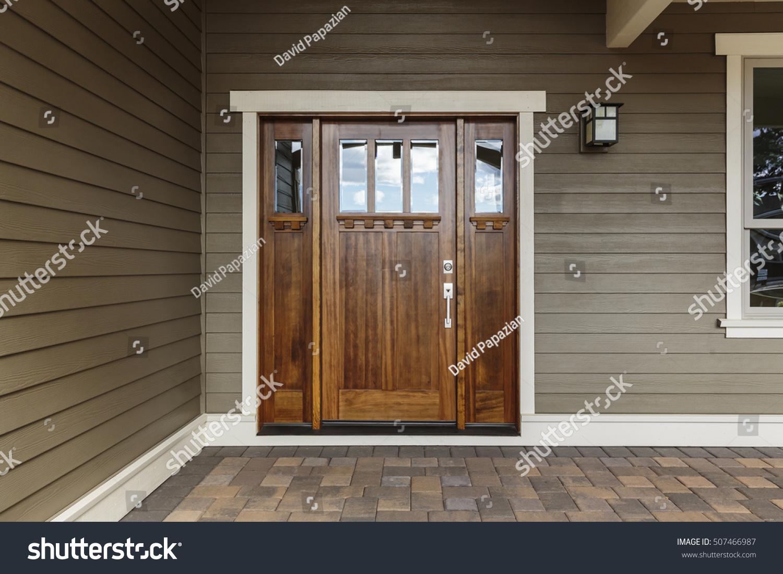 1099 #614A33 Front Dark Brown Door That Is Closed Stock Photo 507466987  image Dark Brown Front Doors 47731500