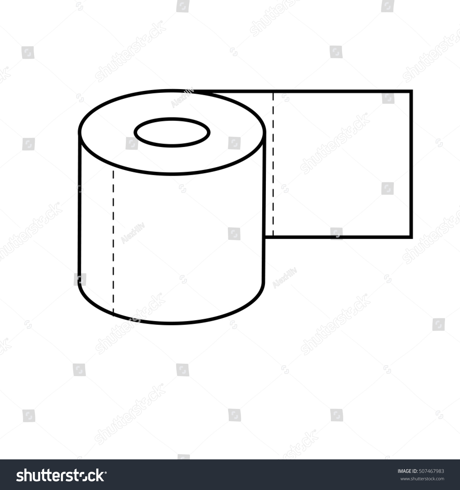 toilet paper icon outline flat vector stock vector